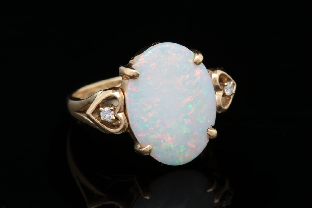 14K Yellow Gold, Opal and Diamond Cocktail Ring