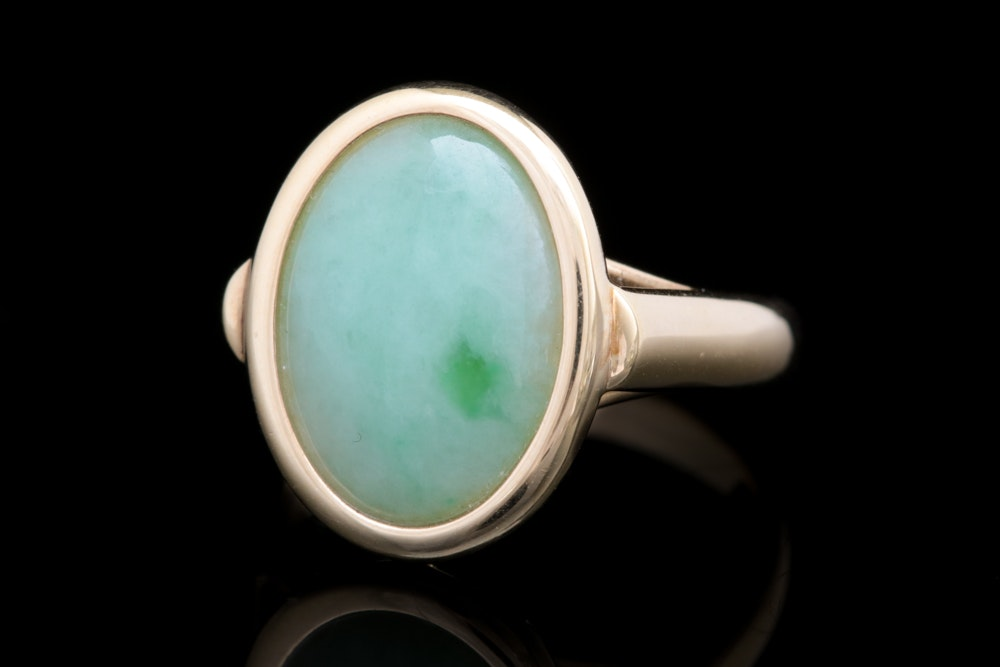 14K Yellow Gold, Green and White Nephrite Jade Ring