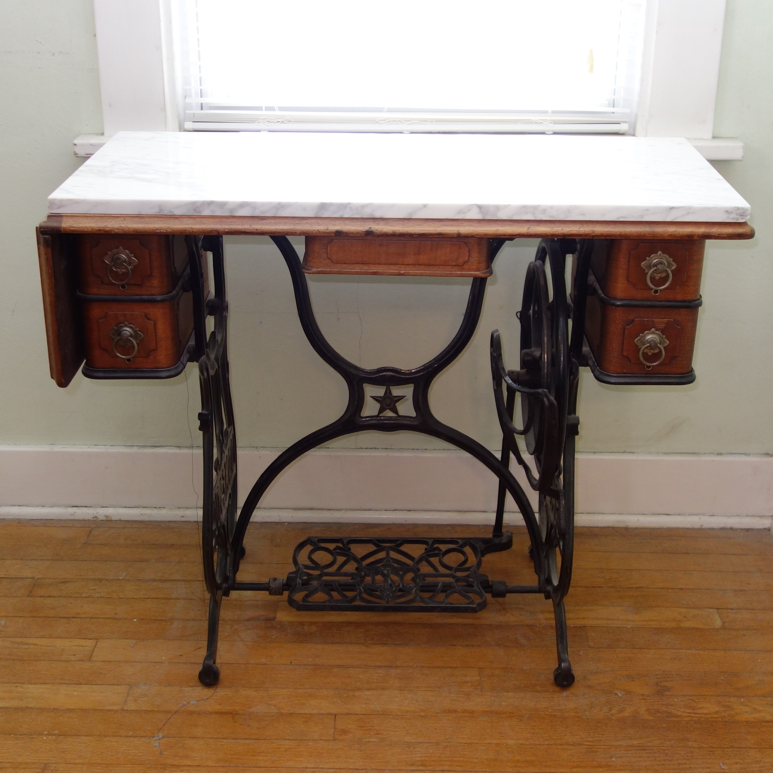 Antique Marble Top Sewing Table & Supplies
