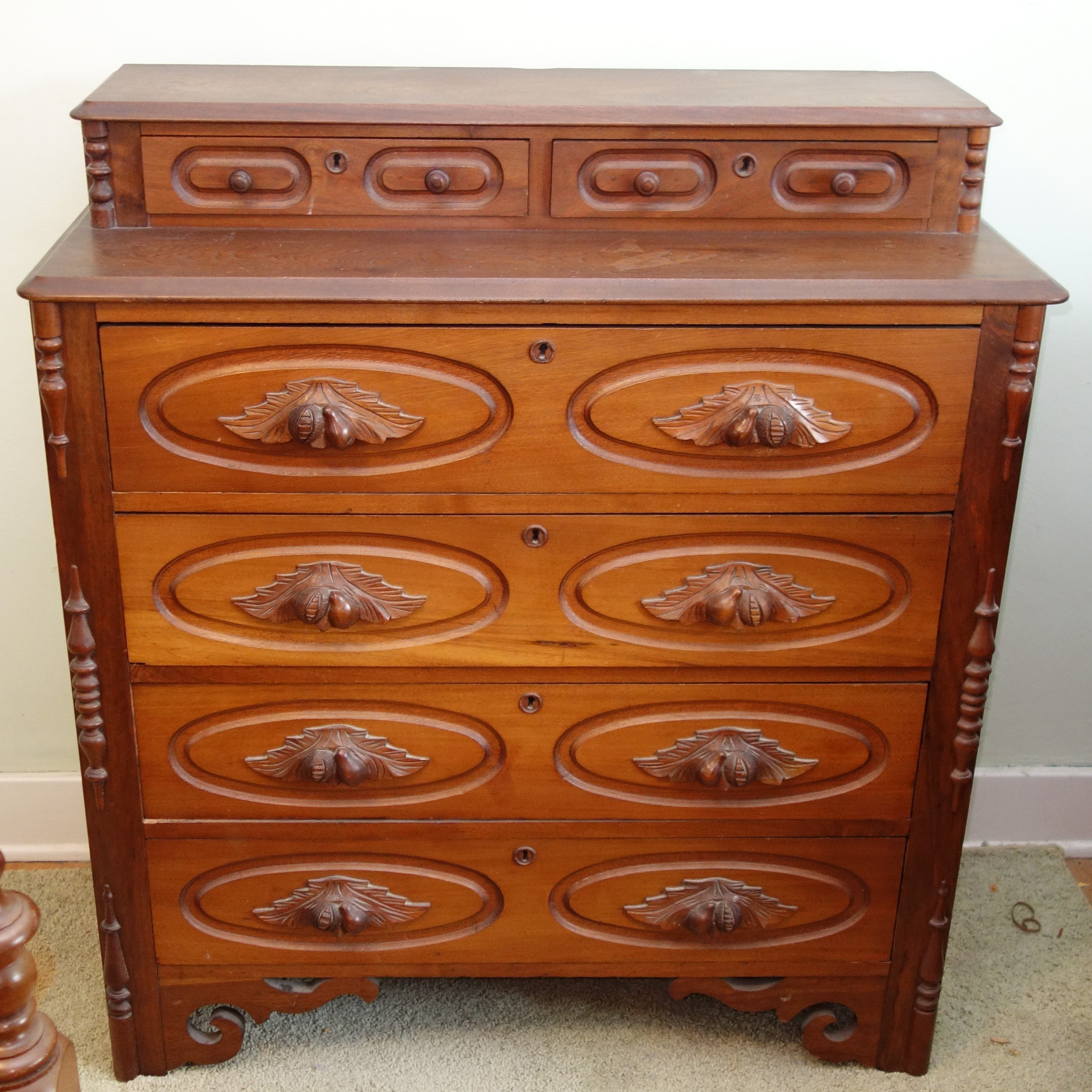 Antique Eastlake Walnut  Chest of Drawers