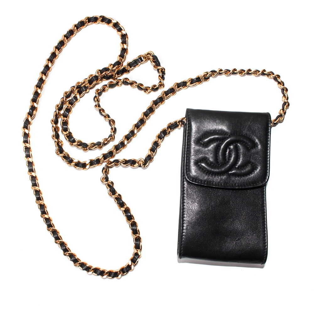 Chanel CC Chain Lambskin Leather Phone Case