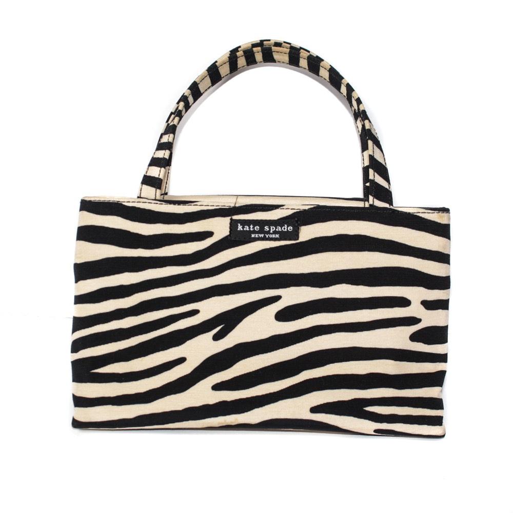 Kate Spade Zebra Print Canvas Handbag