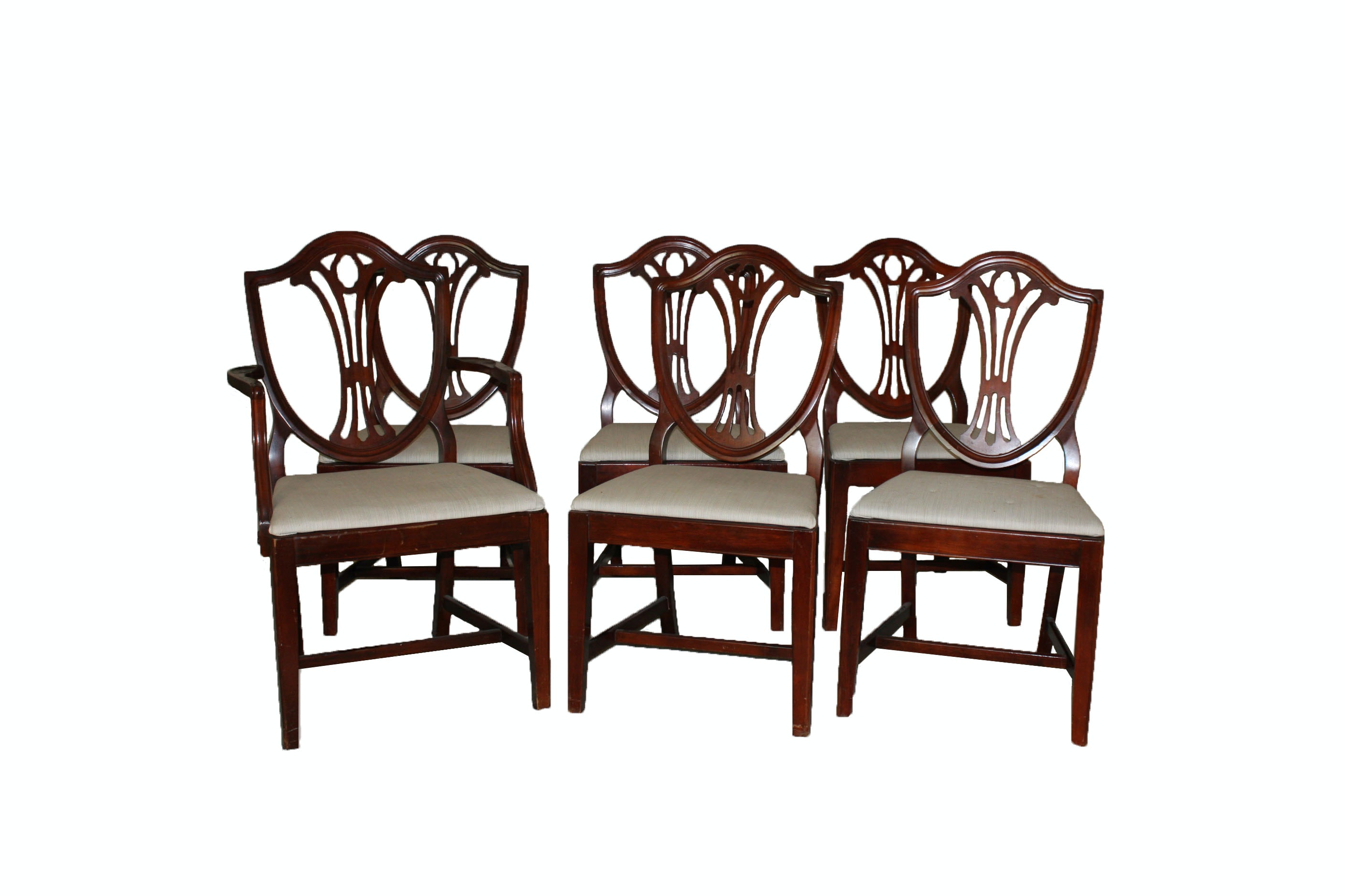 Six Hepplewhite Style Shield-Back Dining Chairs by Drexel