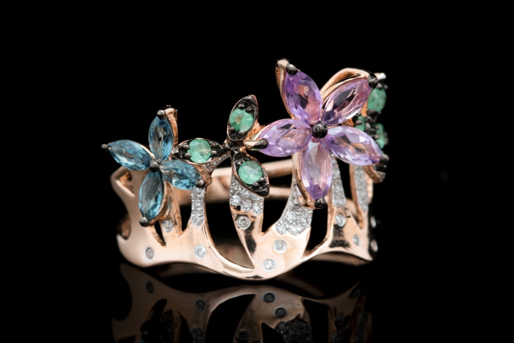 14K Rose Gold, Amethyst, Blue Topaz, Emerald and Diamond Cocktail Ring