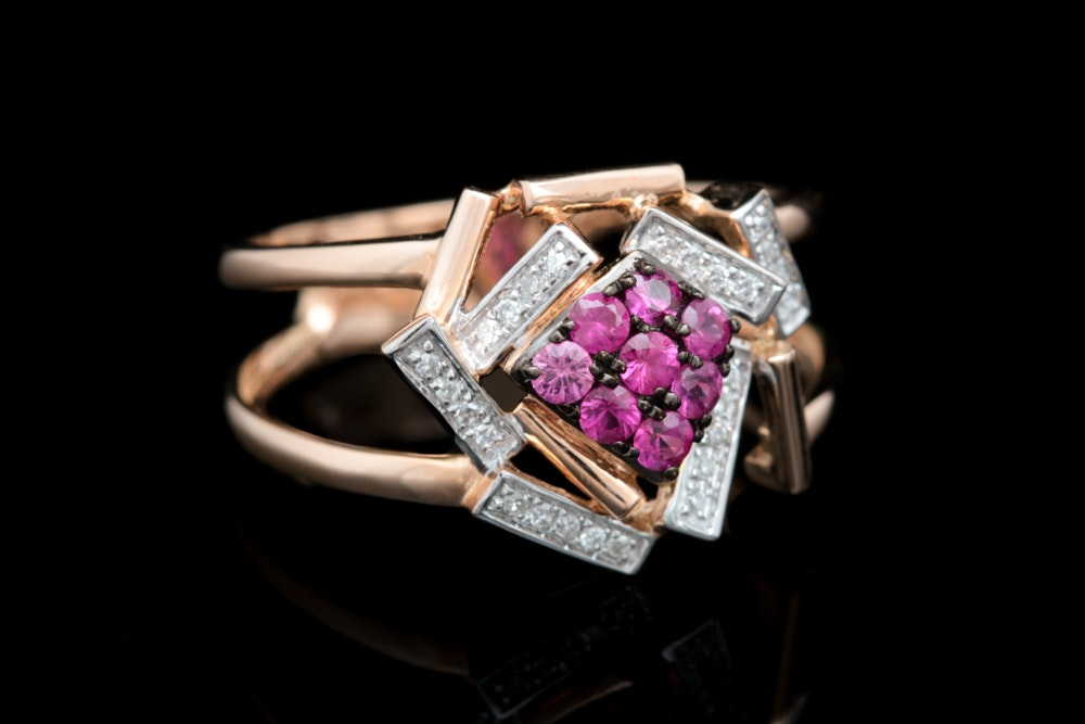 14K Rose Gold, Ruby and Diamond Ring