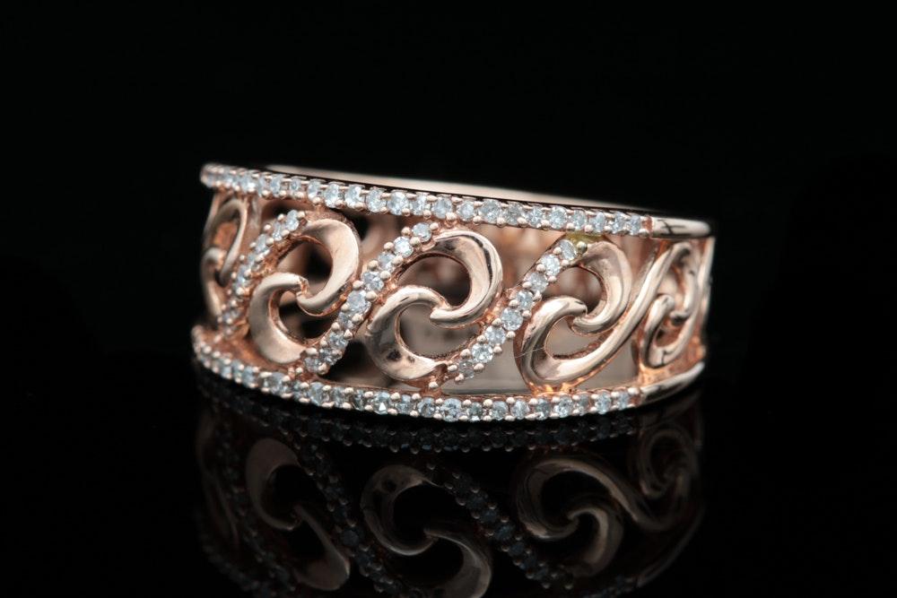 10K Rose Gold and Diamond Filigree Ring