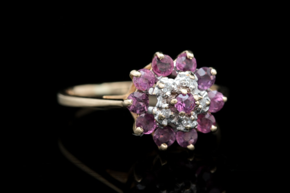 10K Yellow Gold, Ruby and Diamond Cluster Ring