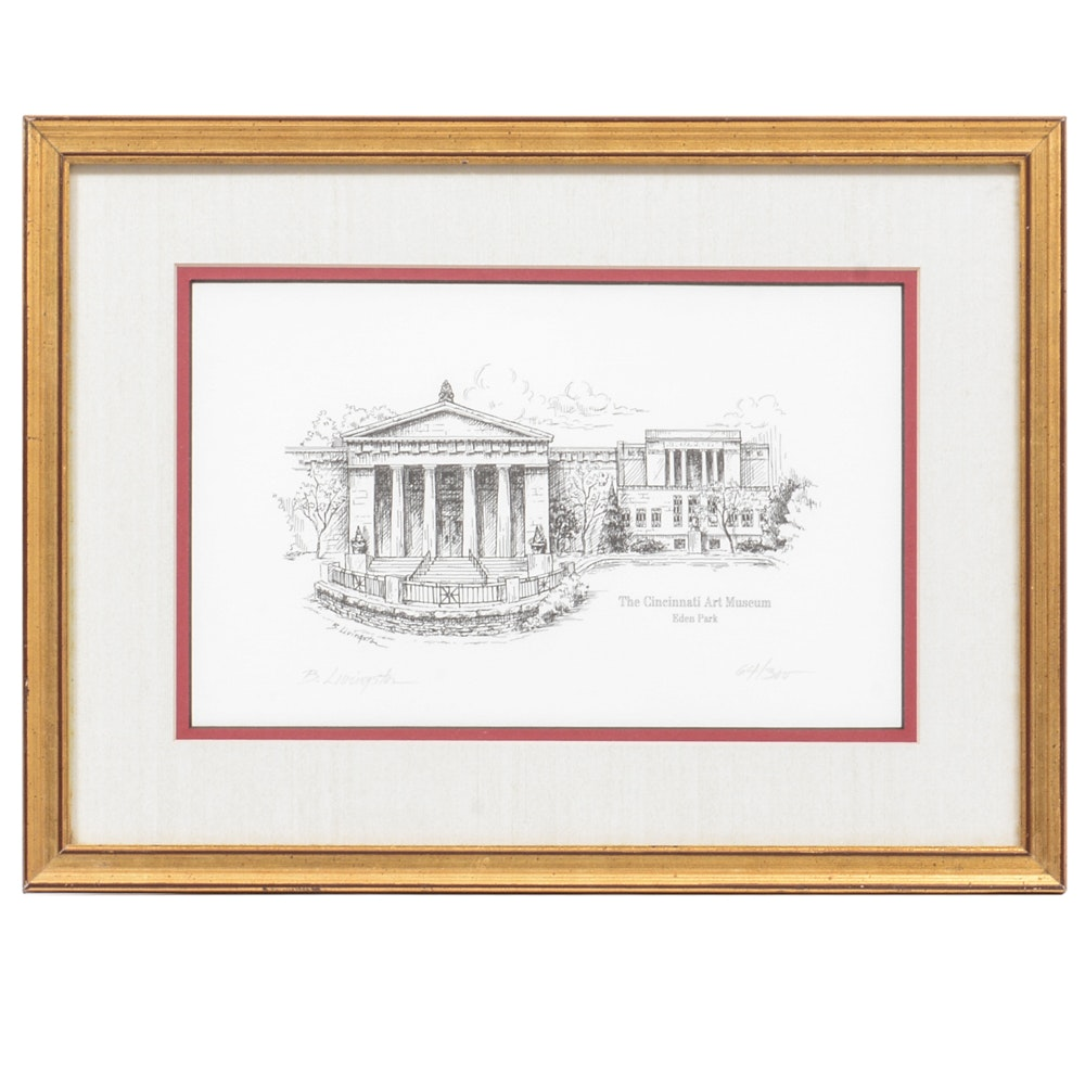 """Signed B. Livingston Limited Edition Etching """"The Cincinnati Art Museum"""""""