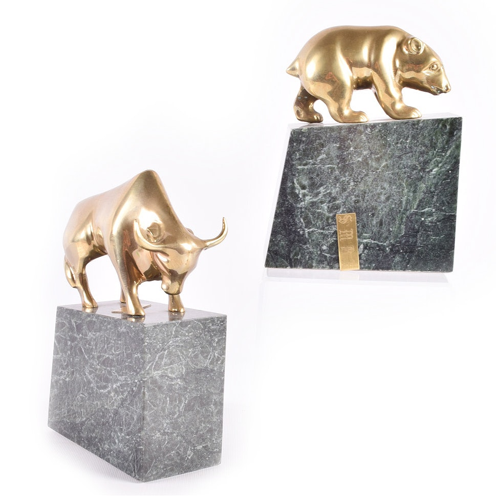 Brass and Marble Bookends
