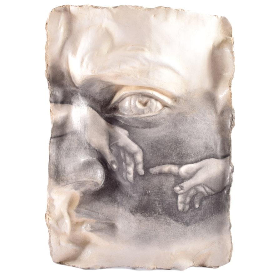 """Papier Mâché Wall Sculpture After Michelangelo's """"David"""" and """"Creation of Adam"""""""