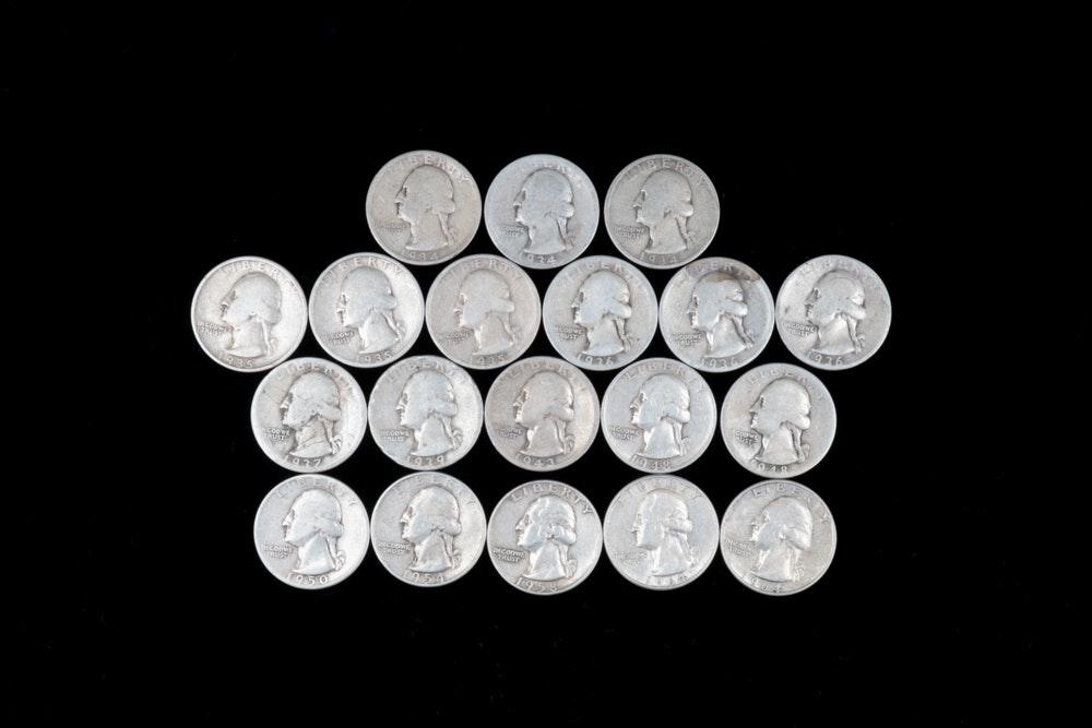 Nineteen Washington Silver Quarters