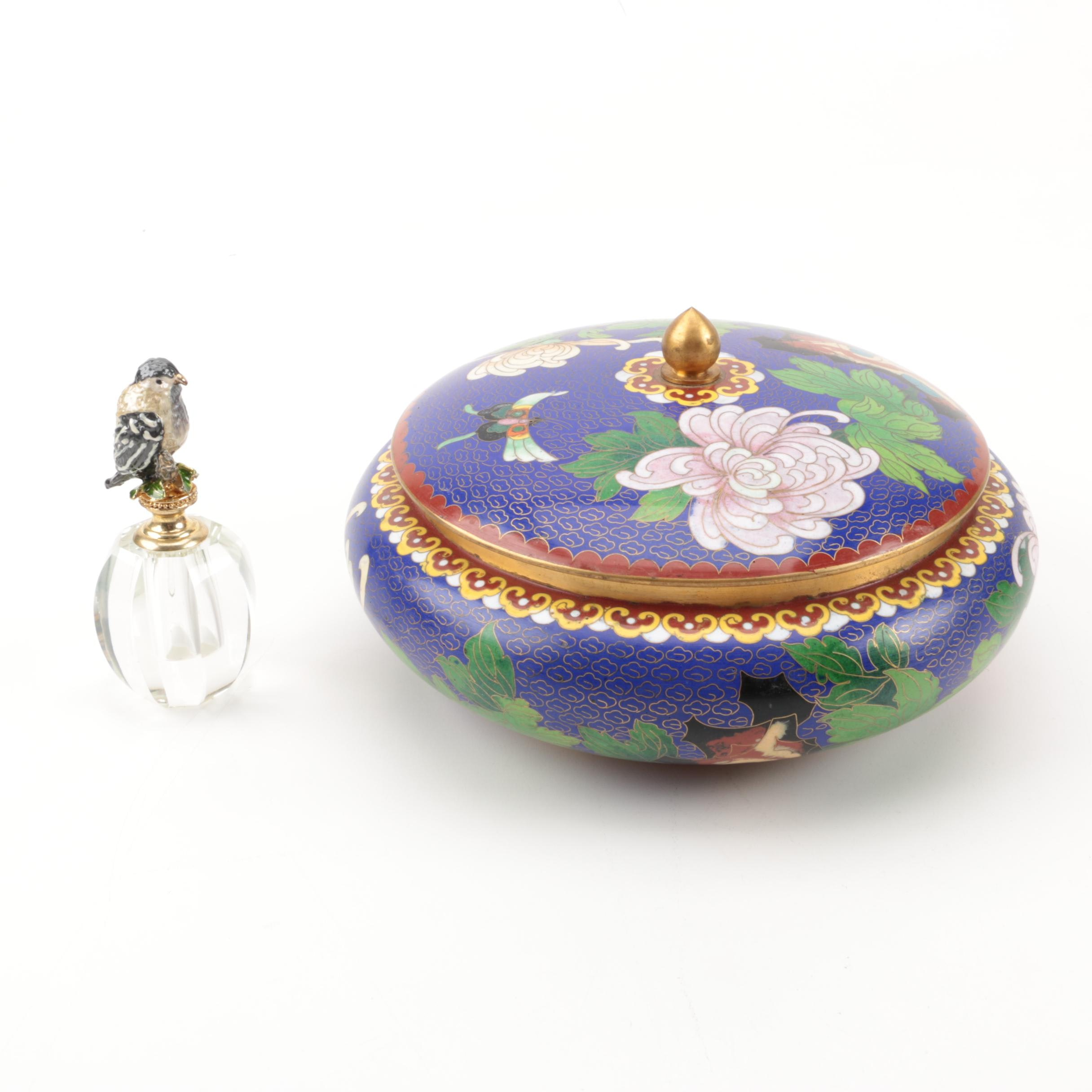 Cloisonne Lidded Bowl and Glass Perfume Decanter