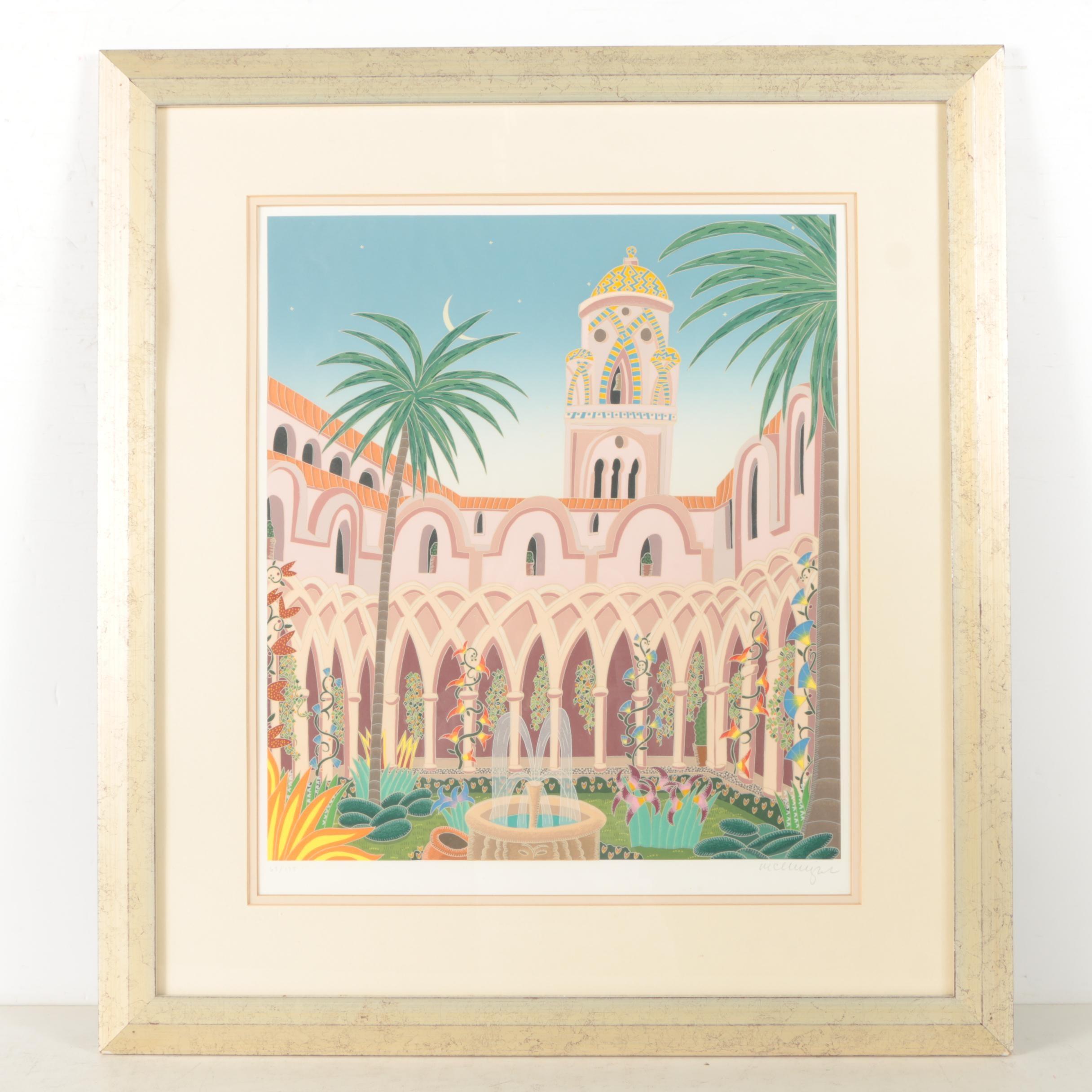 "Thomas McKnight 1987 Limited Edition Serigraph on Wove Paper ""Amalfi Cloister"""