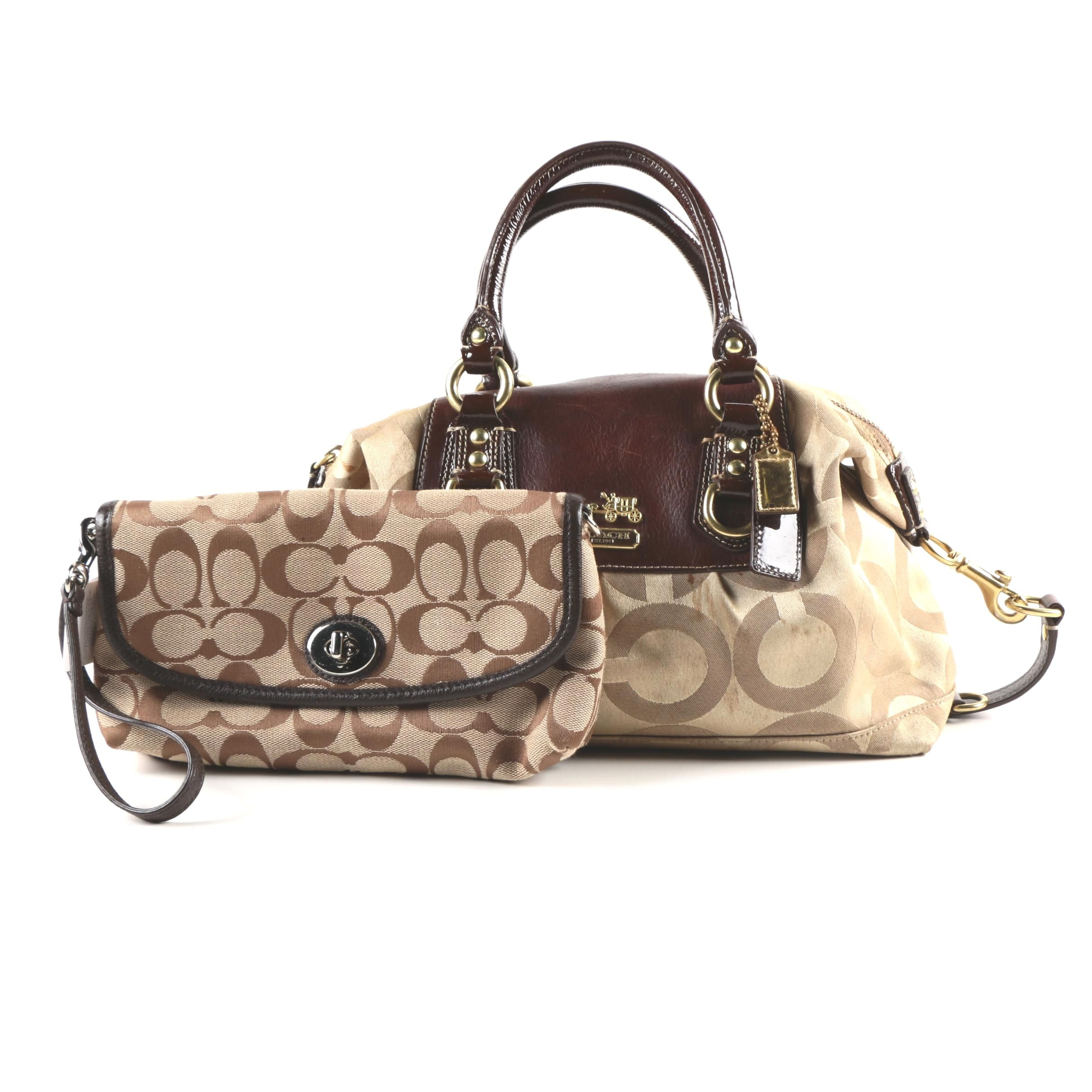 Coach Madison Sabrina Satchel with Signature Wristlet