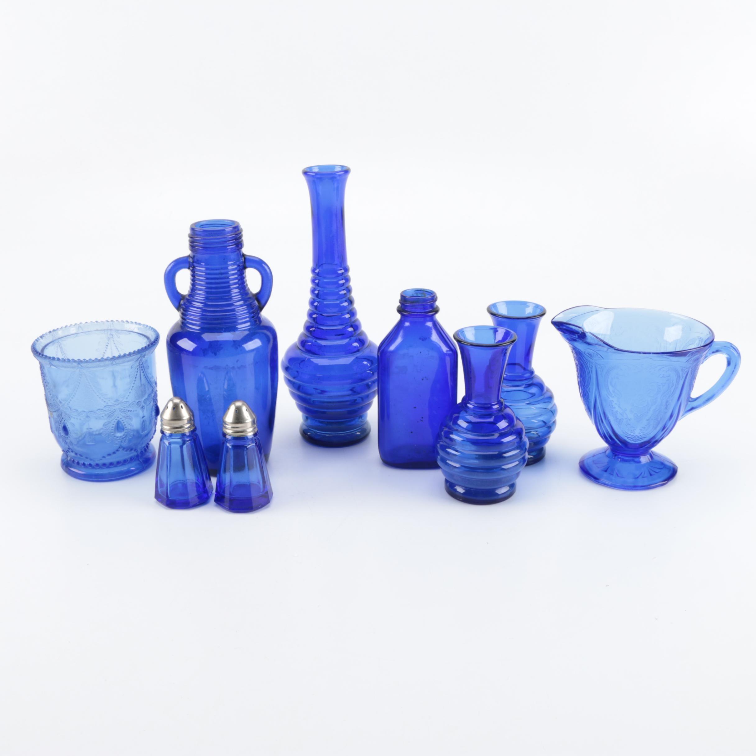 Blue Glass Serveware and Décor Including Hazel Atlas