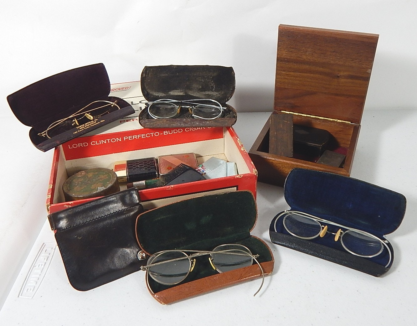 Lot of Antique Eyewear and Boxes