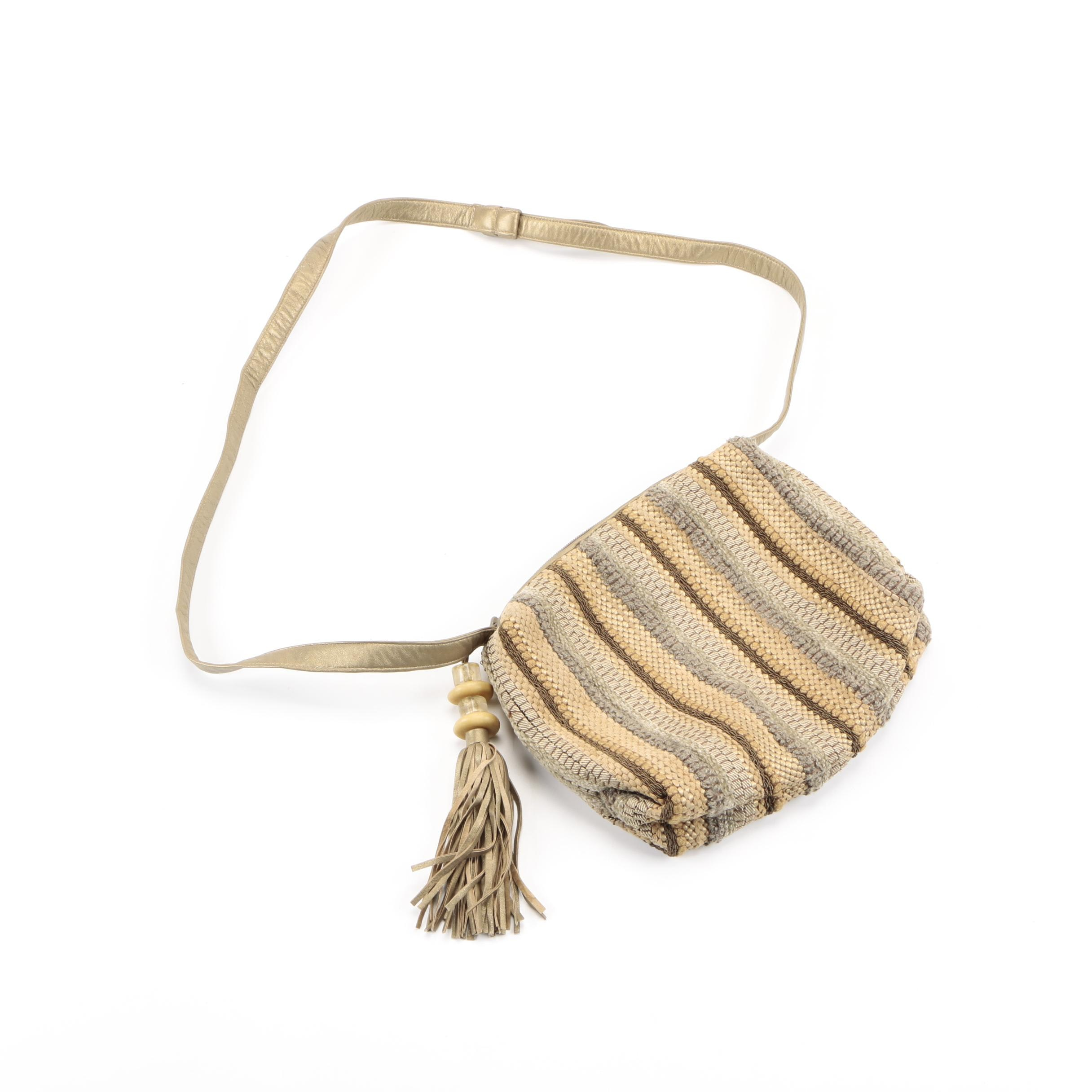 Sharif Knit and Faux Leather Crossbody Bag