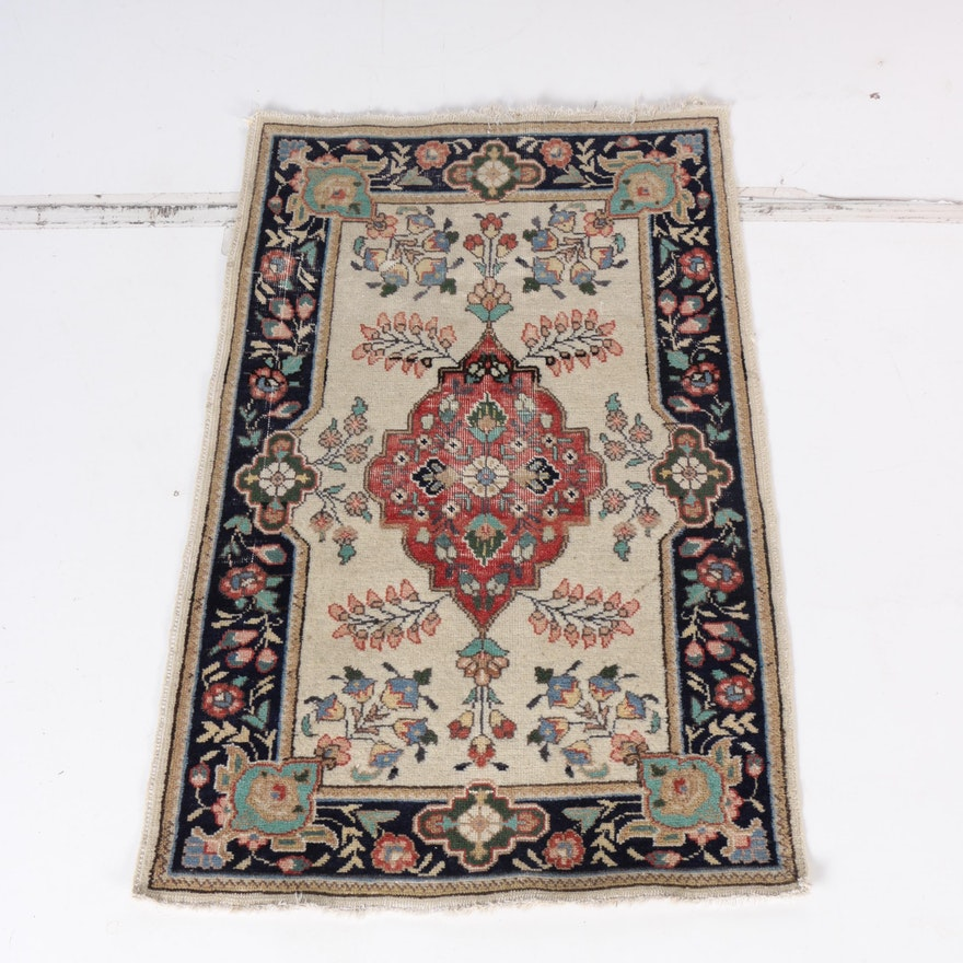 Hand Knotted Persian Wool Area Rug Ebth: Hand-Knotted Indo-Persian Tabriz Wool Accent Rug