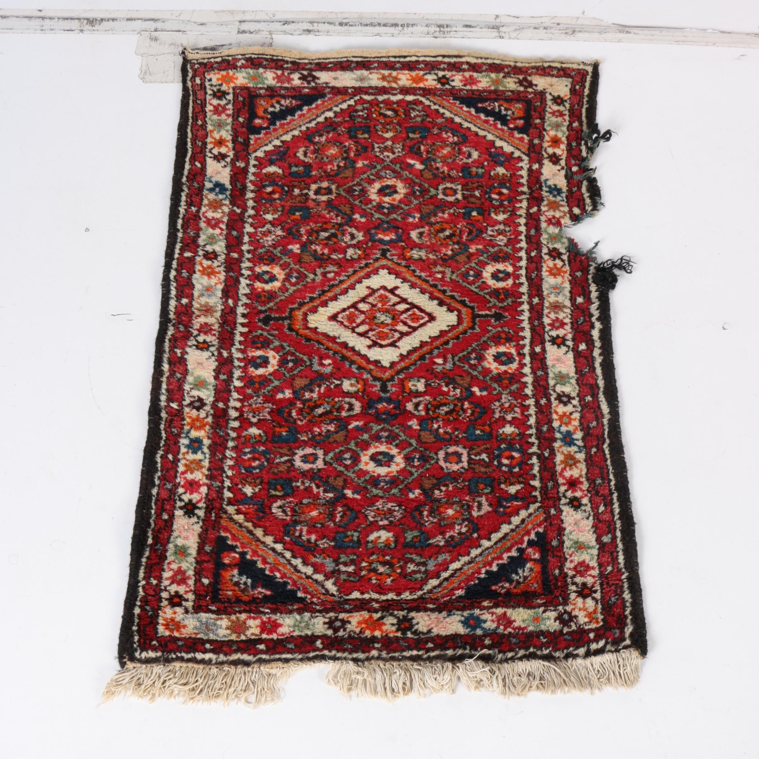 Hand-Knotted Hamadan Wool Area Rug