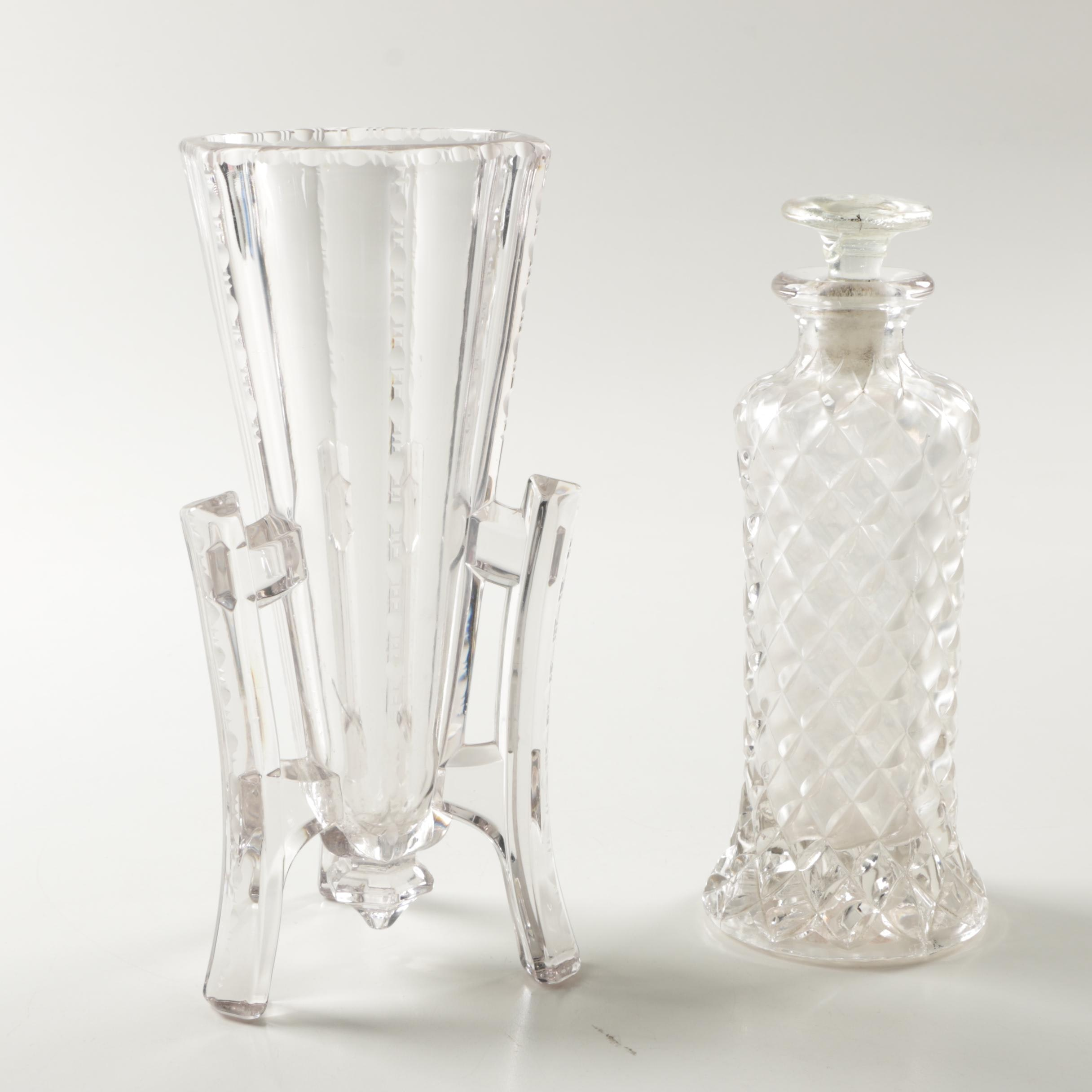 Antique Cut Crystal Vase and Pressed Decanter