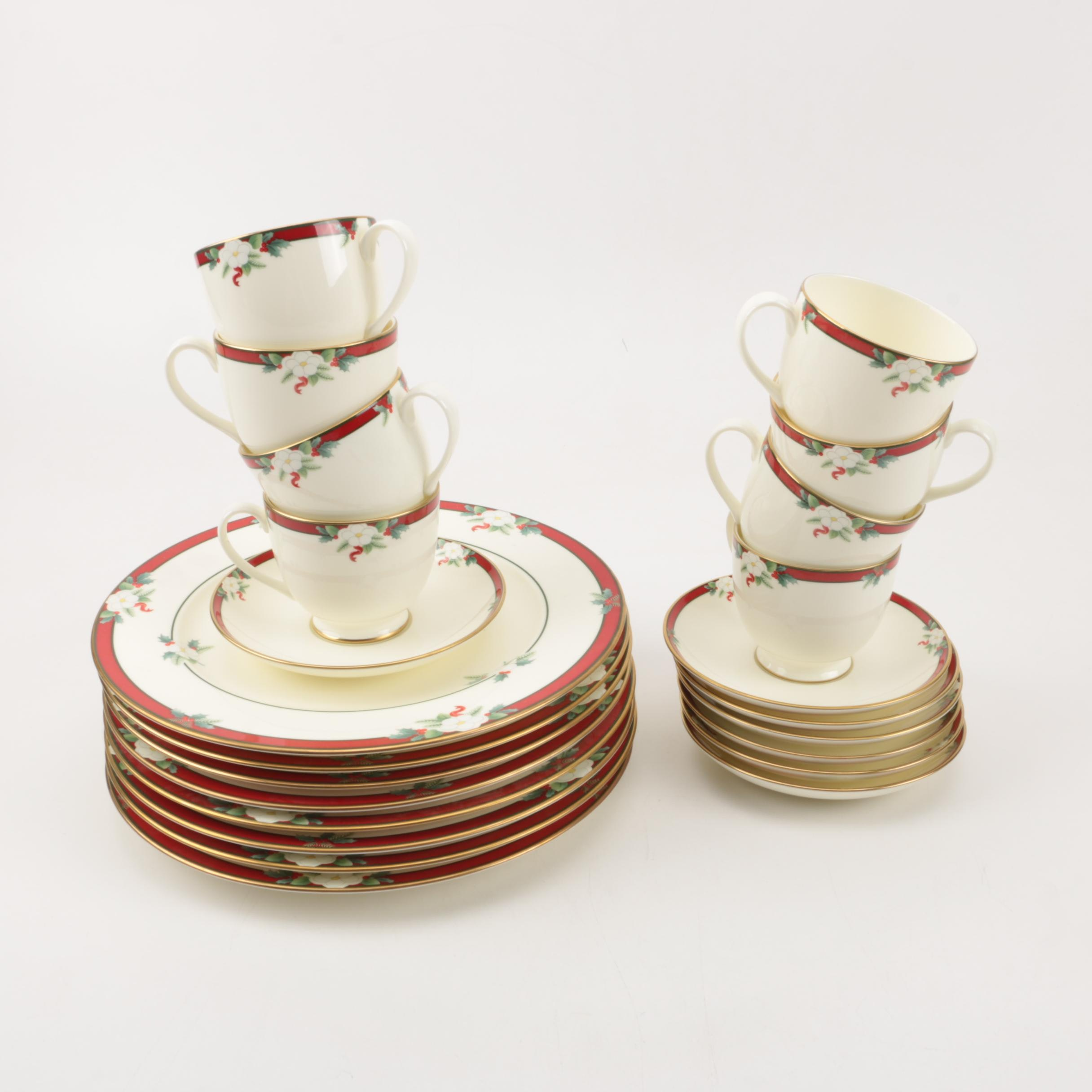 """Pfaltzgraff """"Yuletide"""" Dinner Plates, Cups and Saucers"""