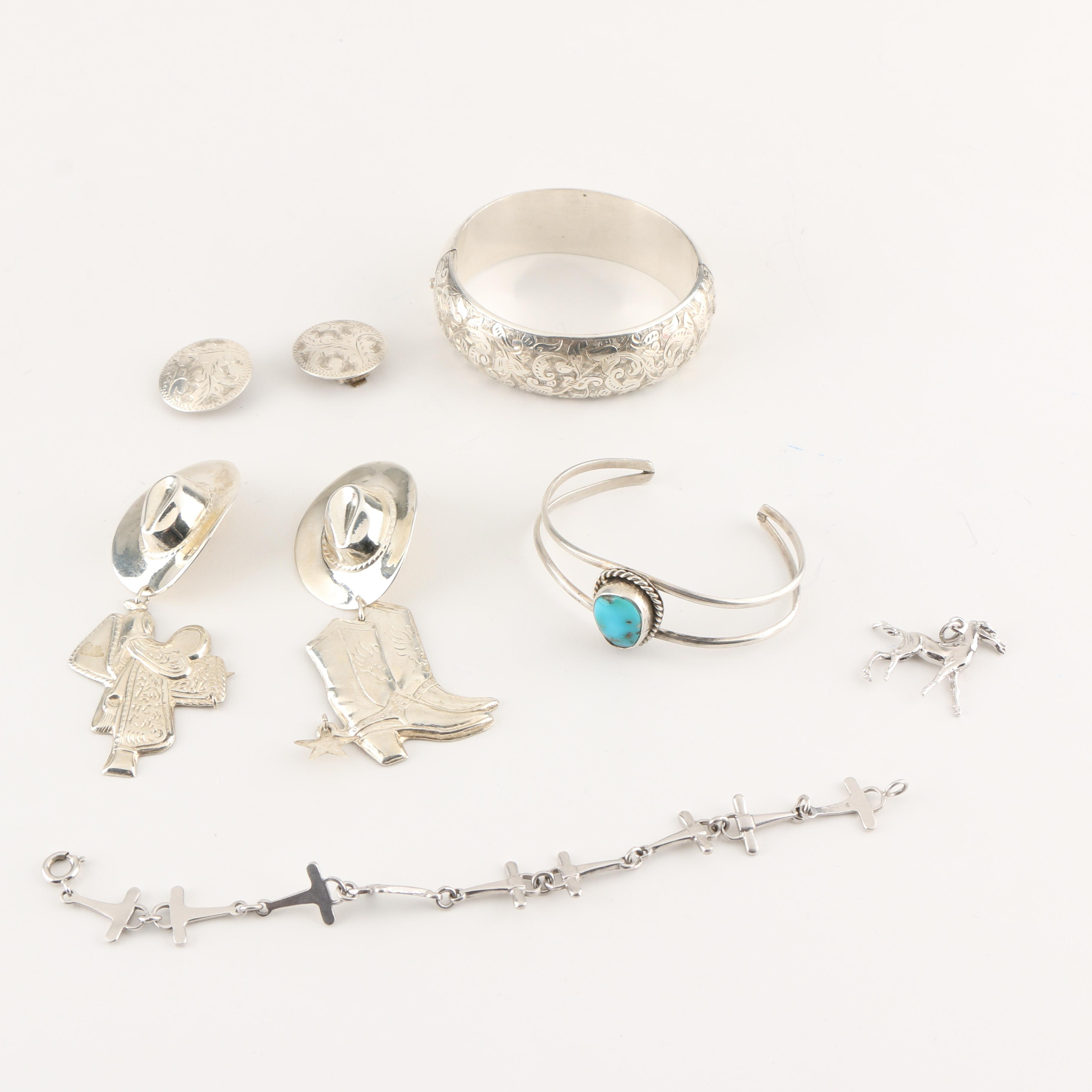 Western Themed Sterling Silver Jewelry Including Turquoise