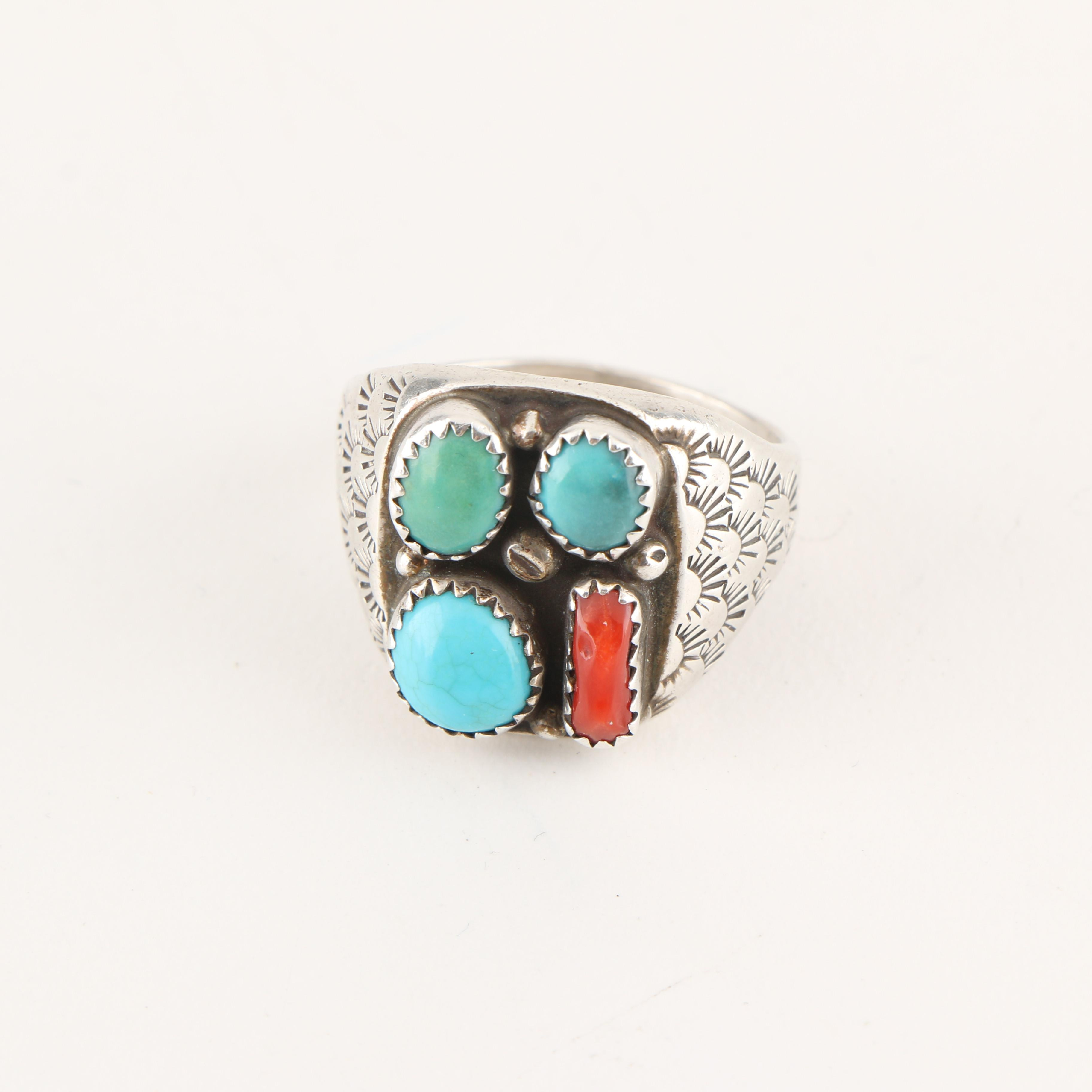 Signed Sterling Silver Native American Style Ring