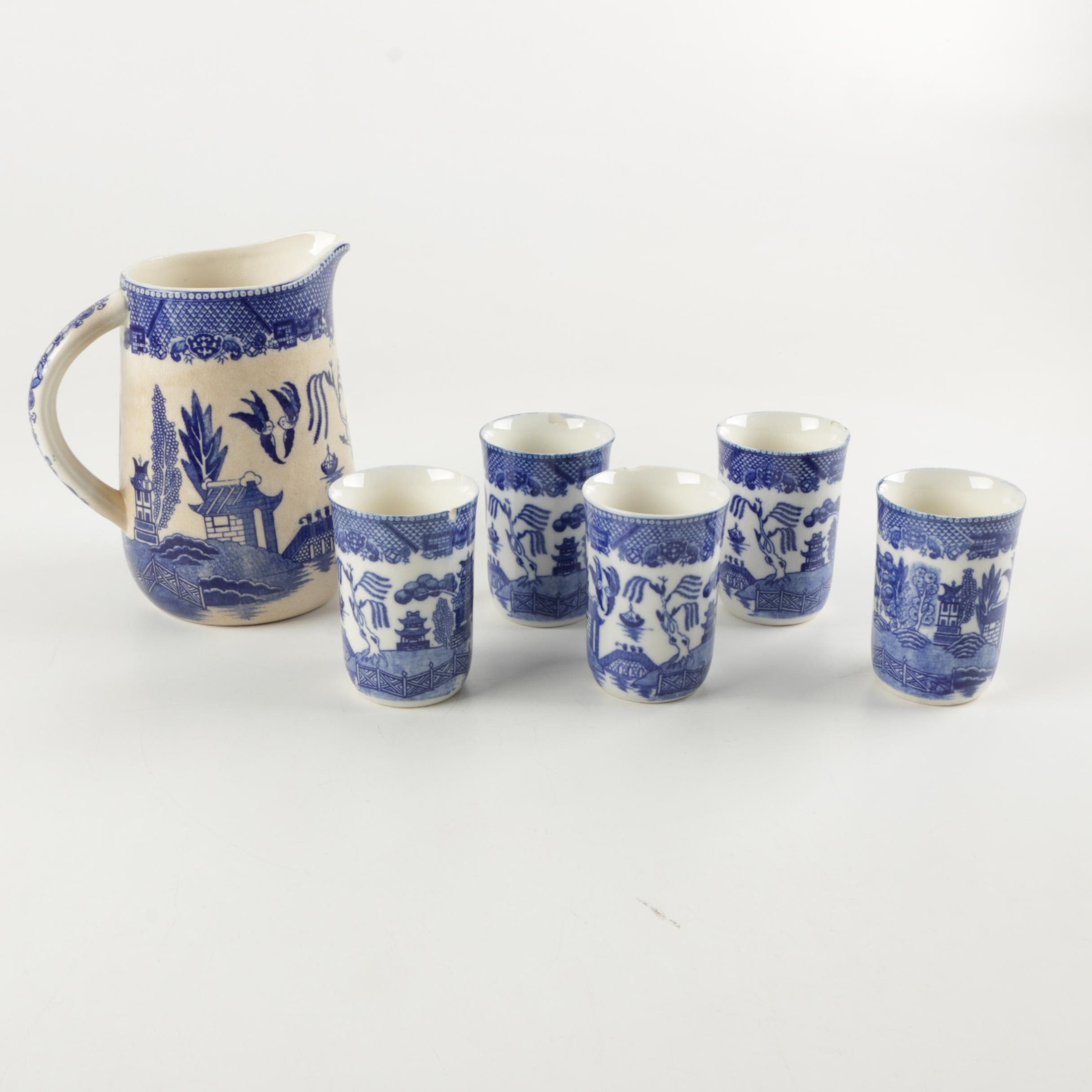Japanese Blue Willow Style Ceramic Pitcher and Five Glasses