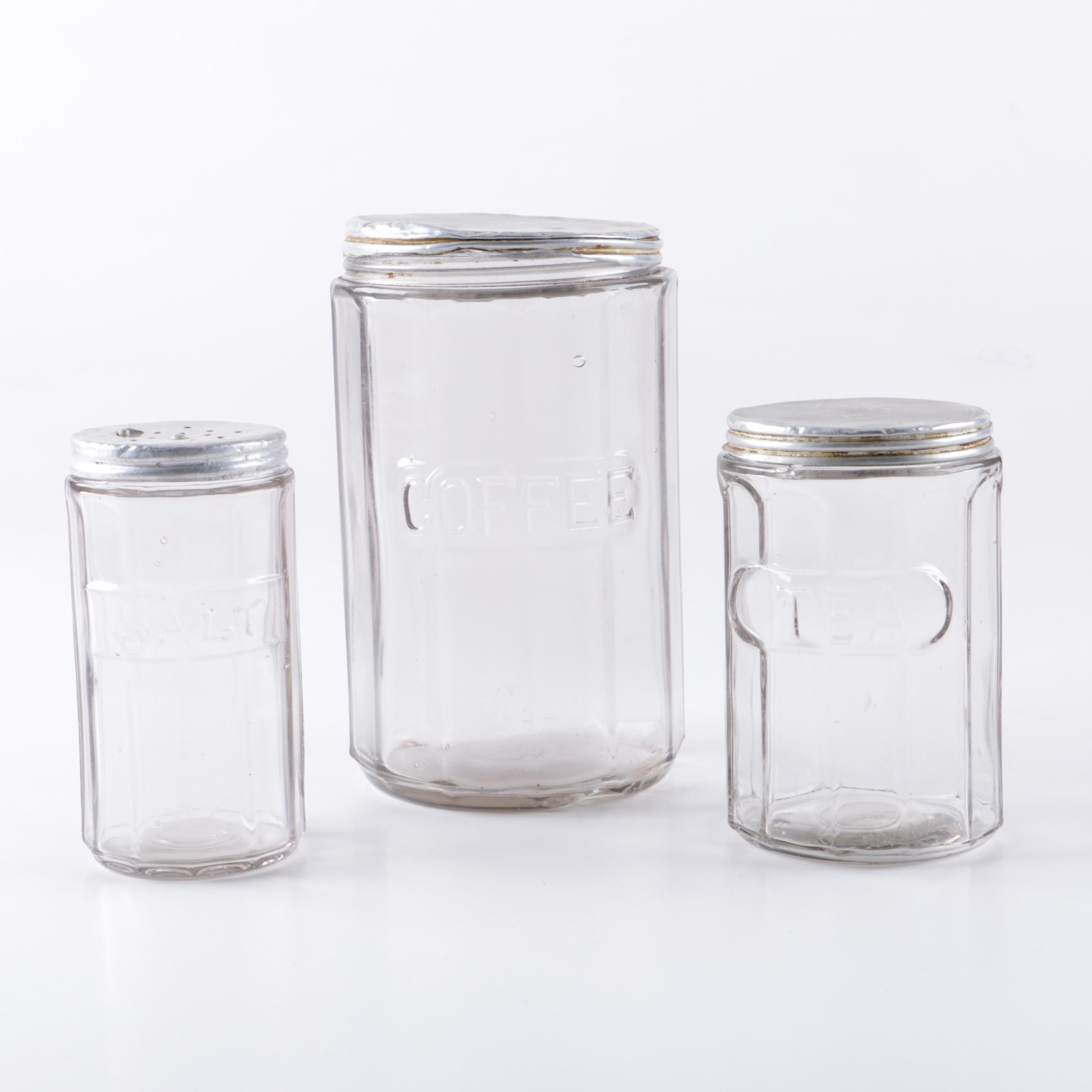 Vintage Hoosier Style Glass Kitchen Canisters