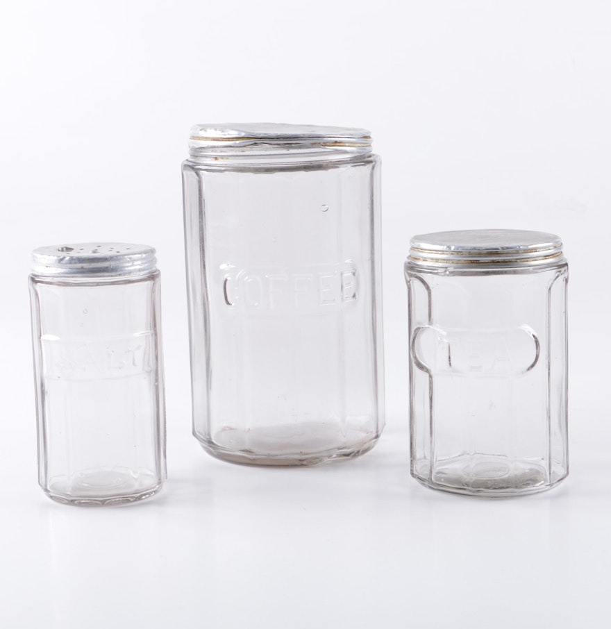 Glass kitchen canisters - Vintage Hoosier Style Glass Kitchen Canisters