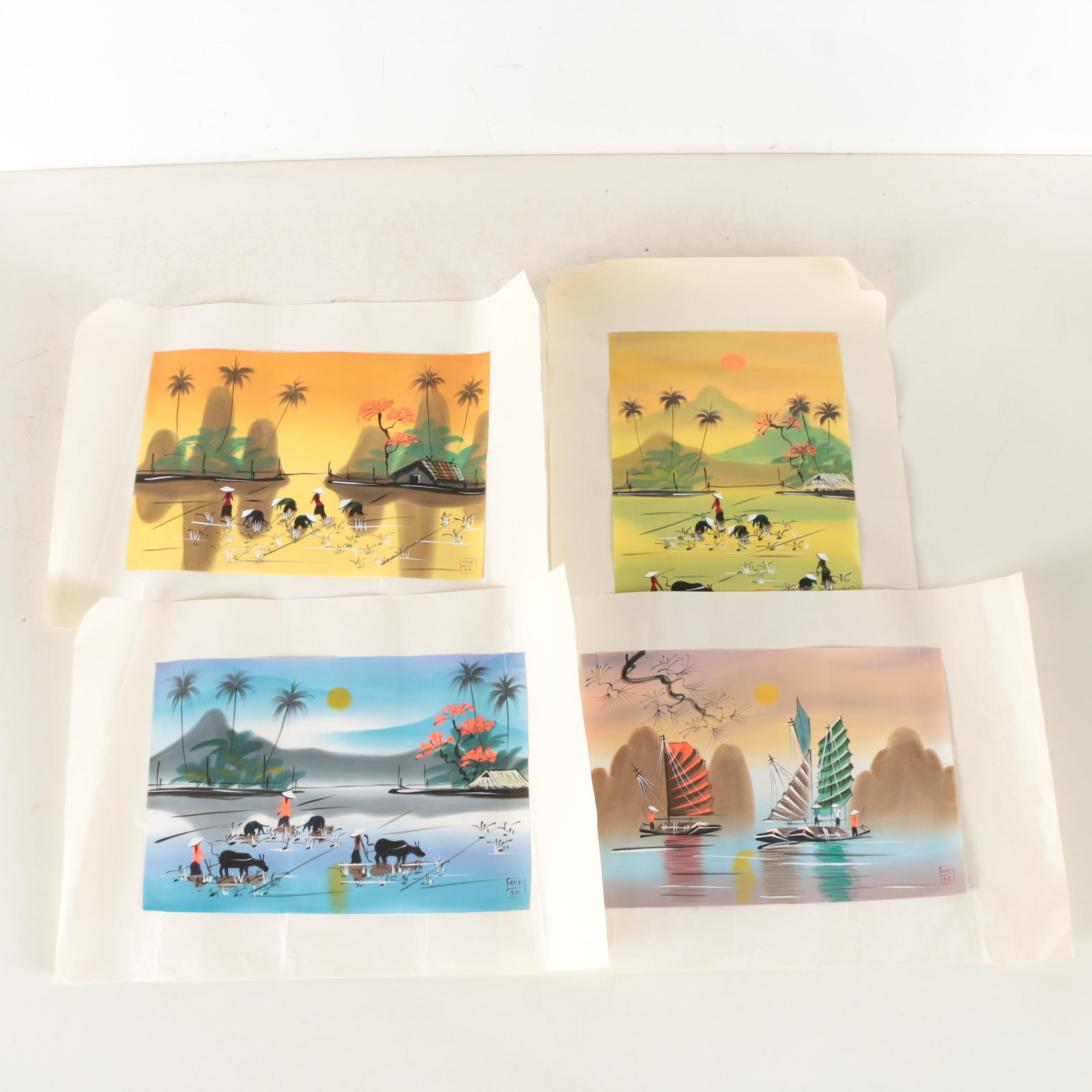 Four Hue 1990s Gouache Paintings on Fabric of Southeast Asian Scenes