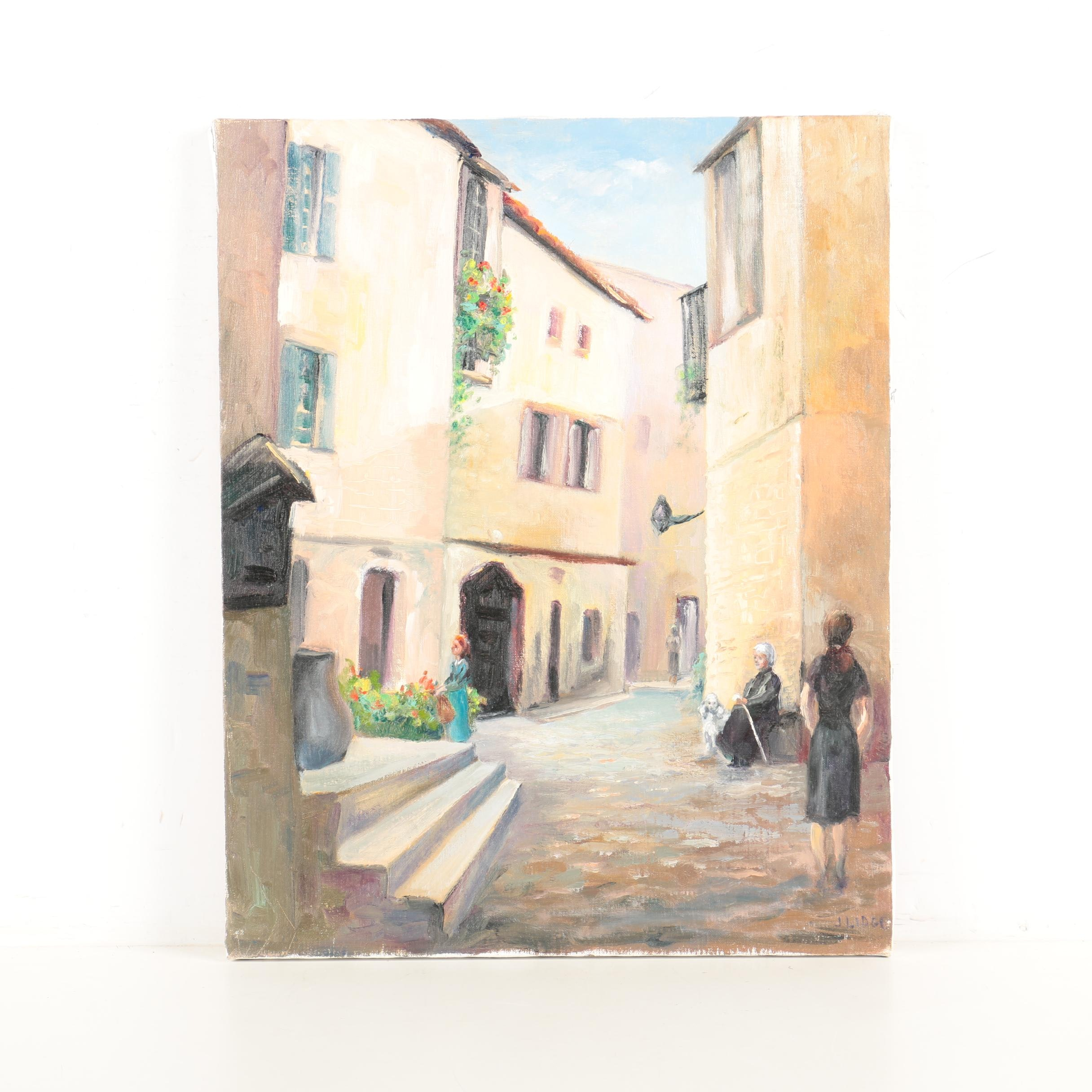 J. Lidge Oil Painting on Canvas of Mediterranean Street Scene