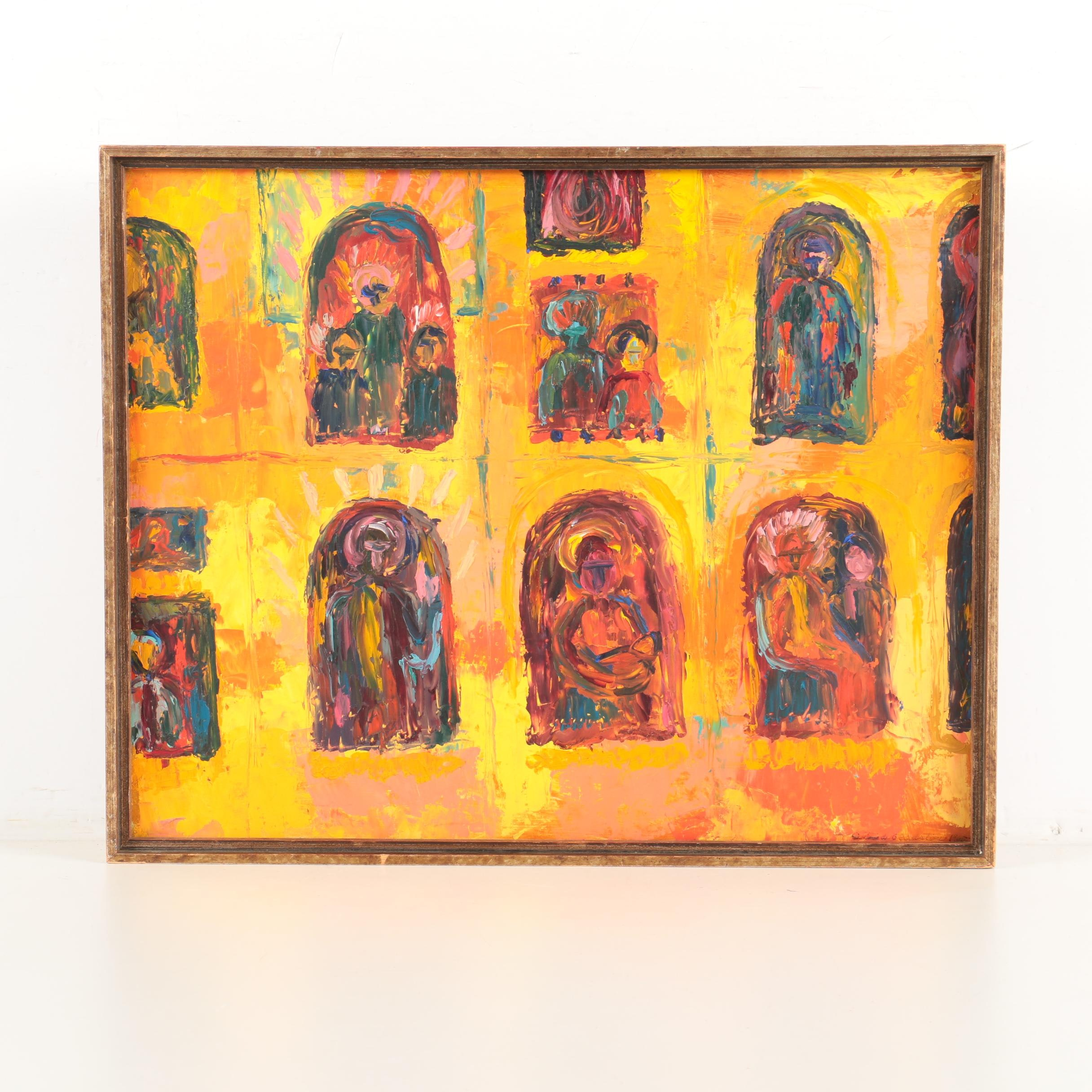 Oil Painting on Board of Abstract Figures in Windows