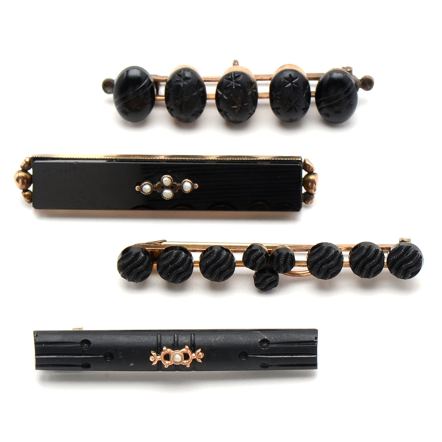 Four Vintage Mourning Bar Brooches