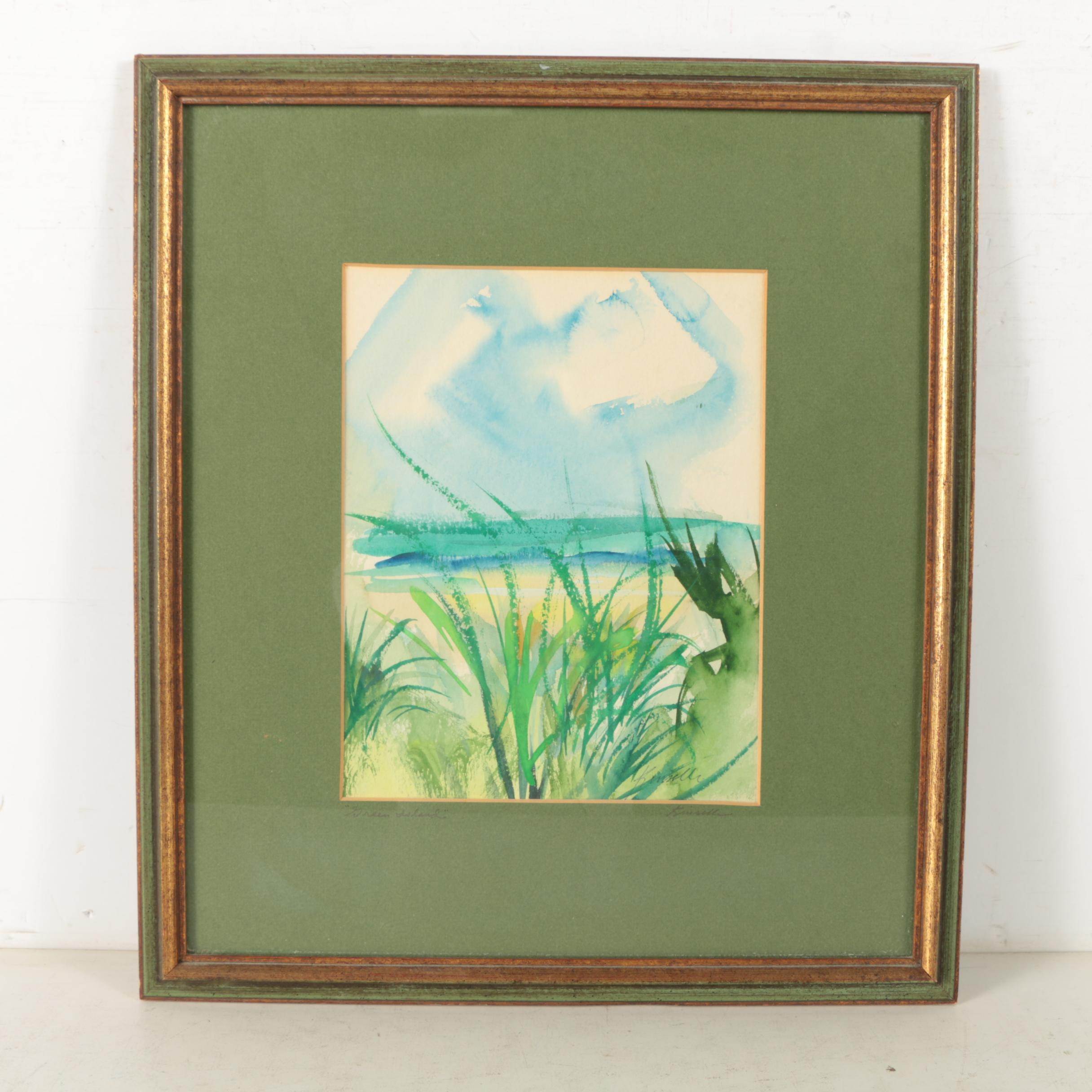 """Stephen Kinsella Watercolor Painting on Paper """"Green Island"""""""