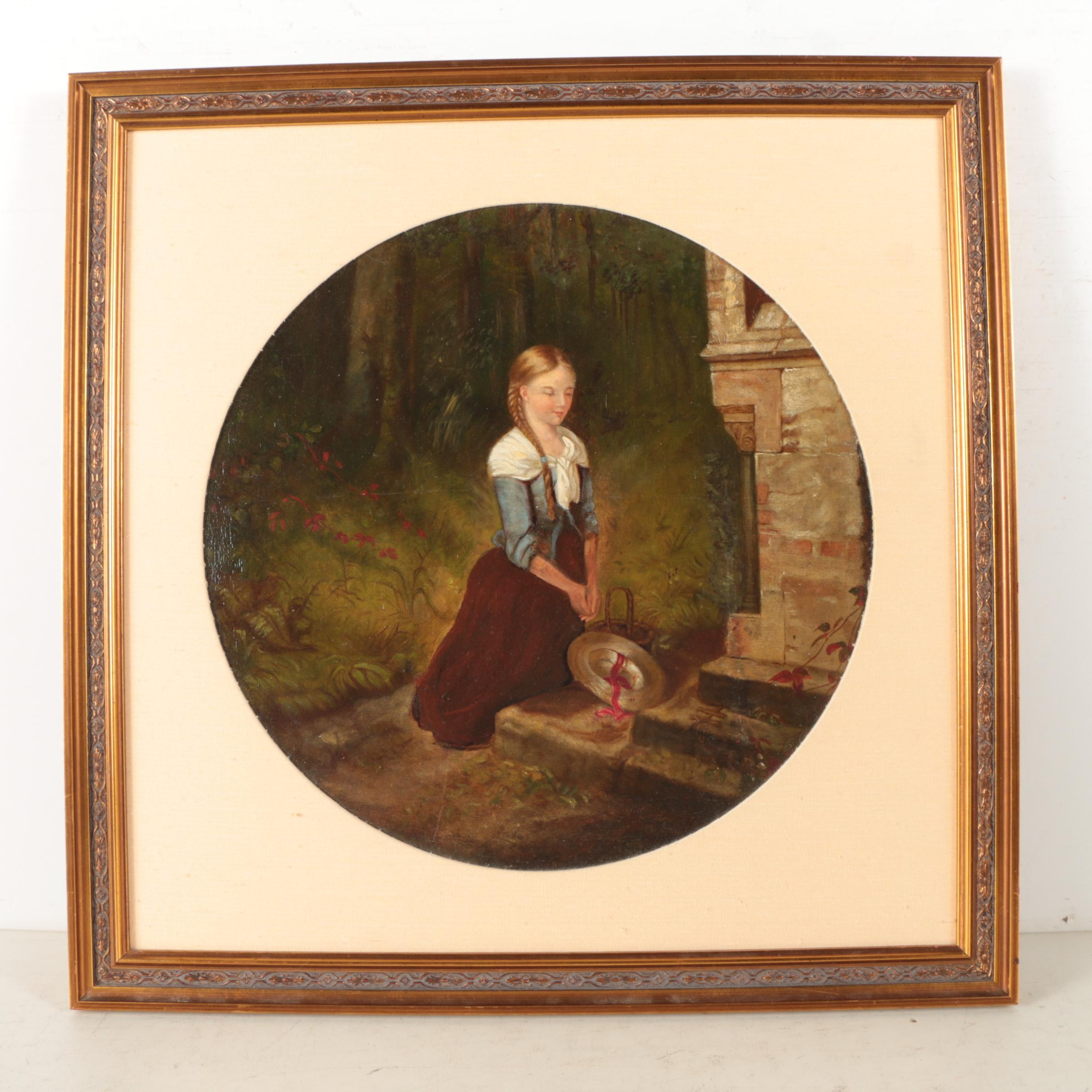 Reno Oil Painting on Canvas Mounted to Panel of Girl Kneeling at Burial Monument
