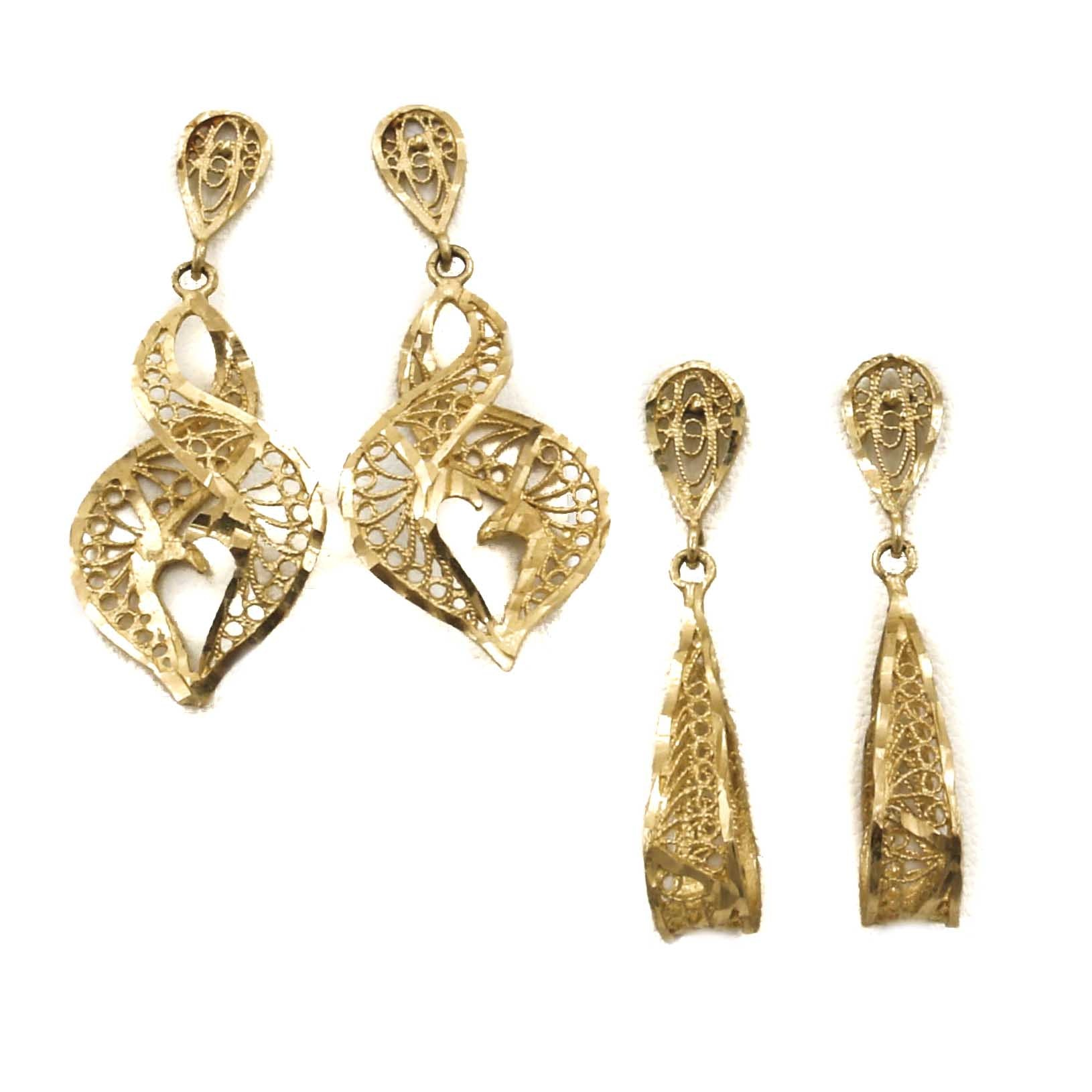 14K Yellow Gold Openwork Earrings