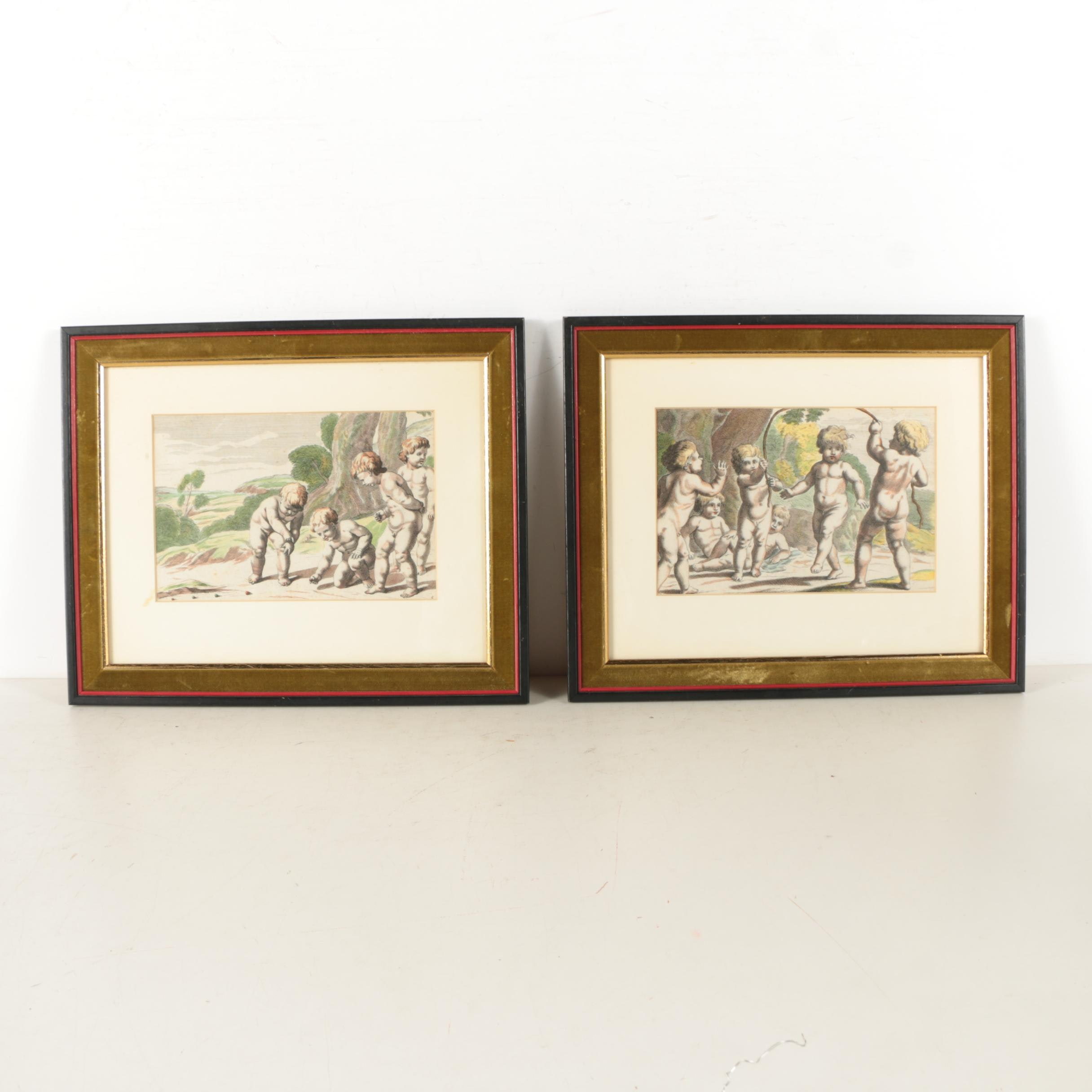 Hand Colored Lithographs of Putti Playing