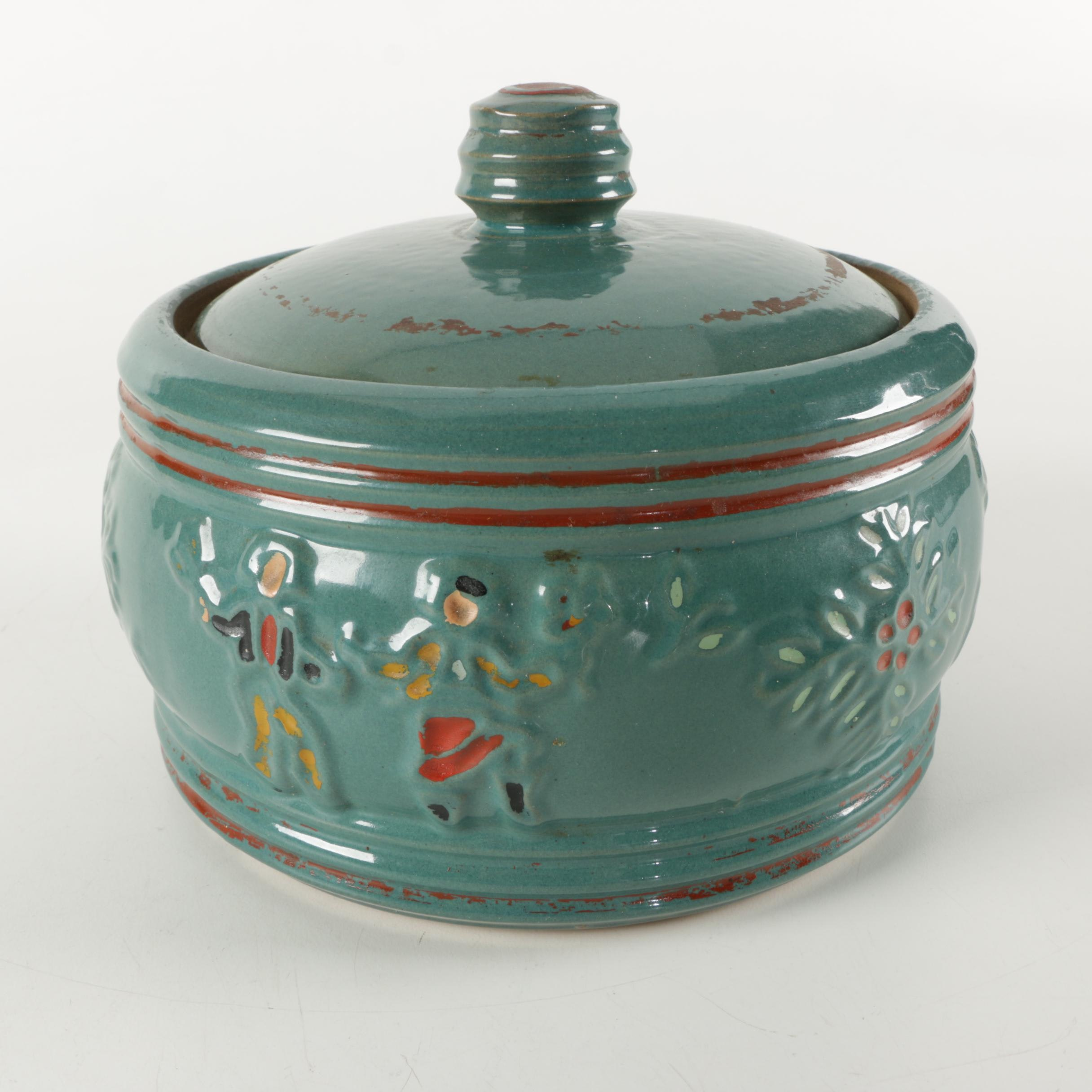 Hand-Painted Ceramic Lidded Bowl