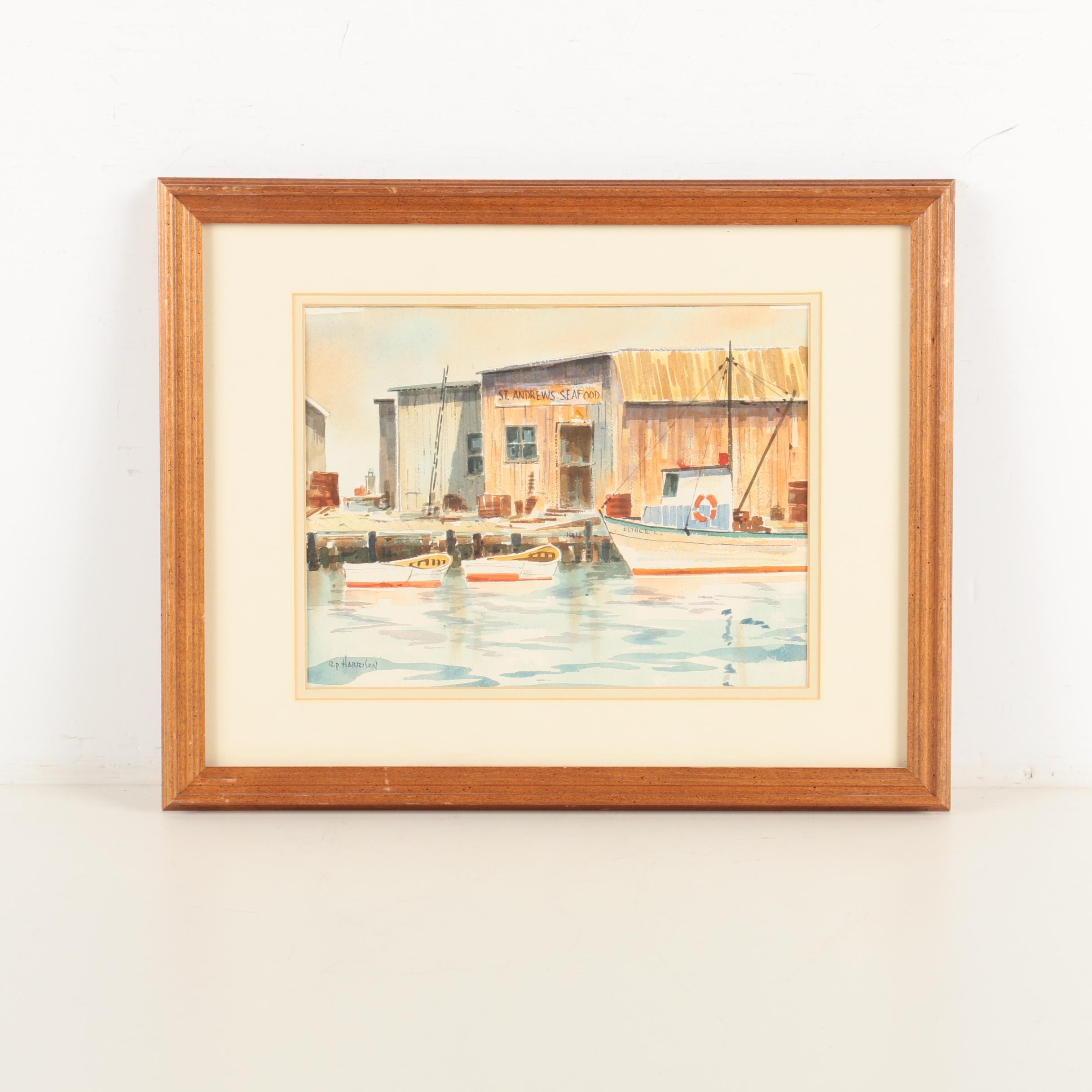 Rip Harrison Watercolor on Paper of a Dock Scene