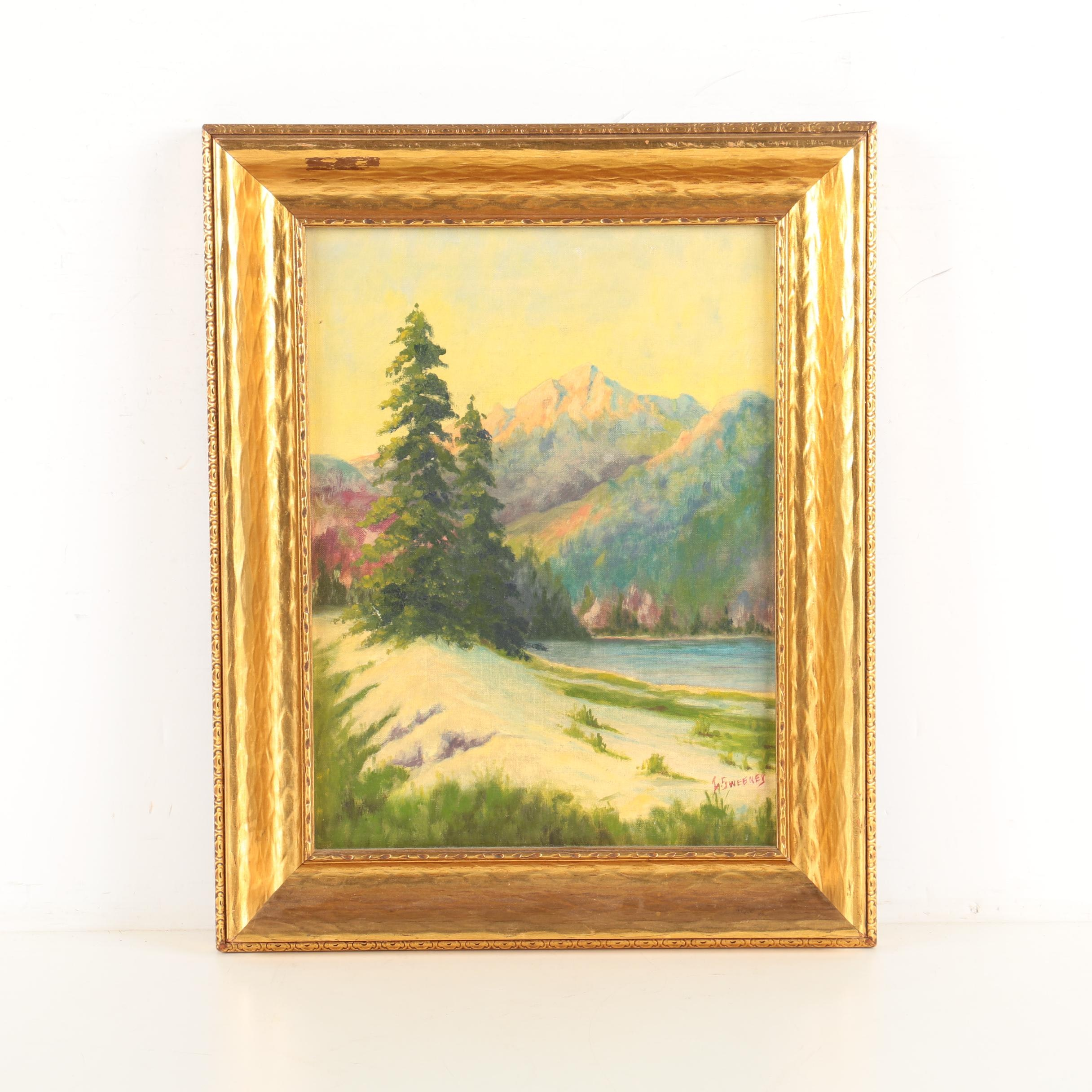 I. Sweeney Oil Painting on Canvas Board of Lake Louise in the Canadian Rockies