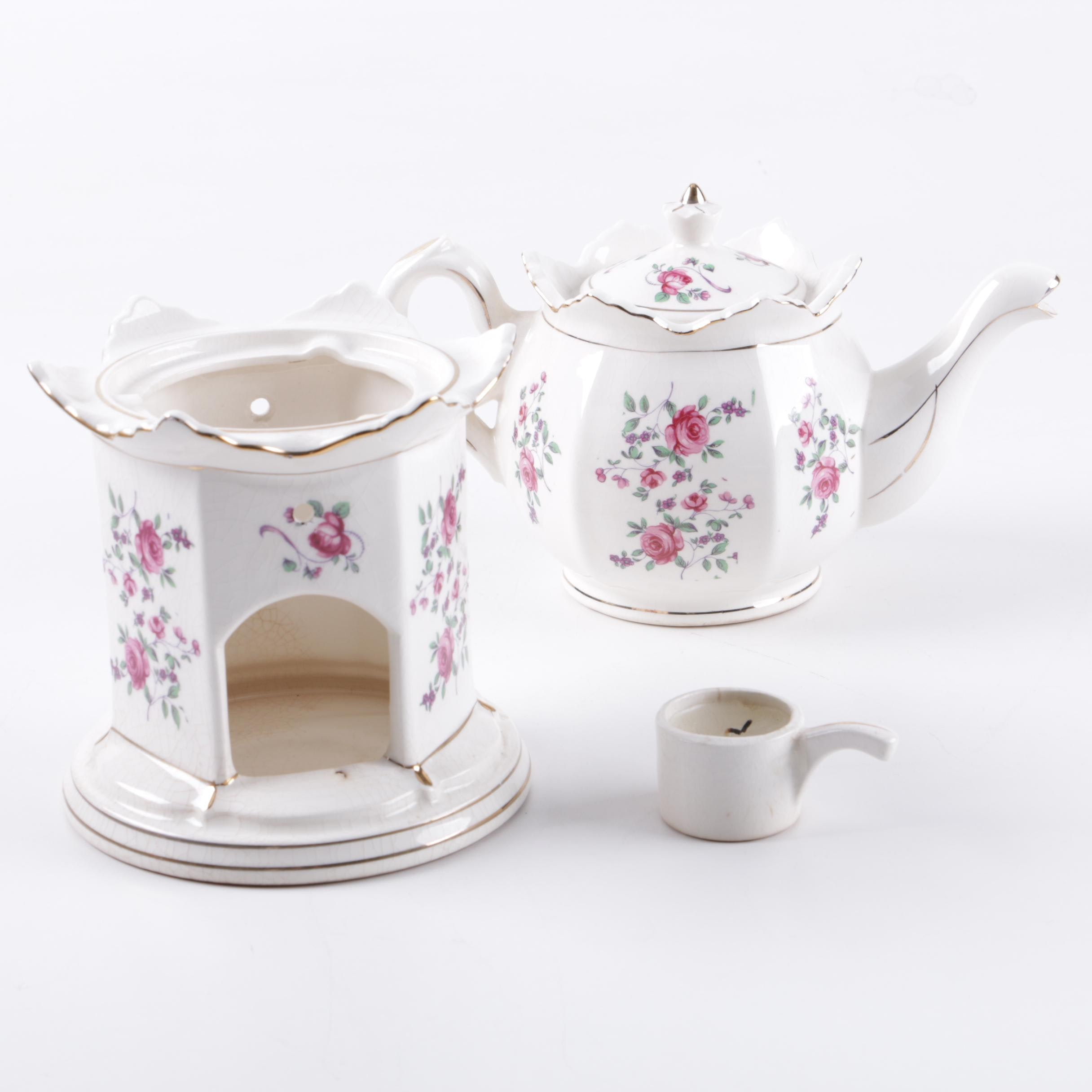 Ceramic Teapot with Candle Warmer Stand