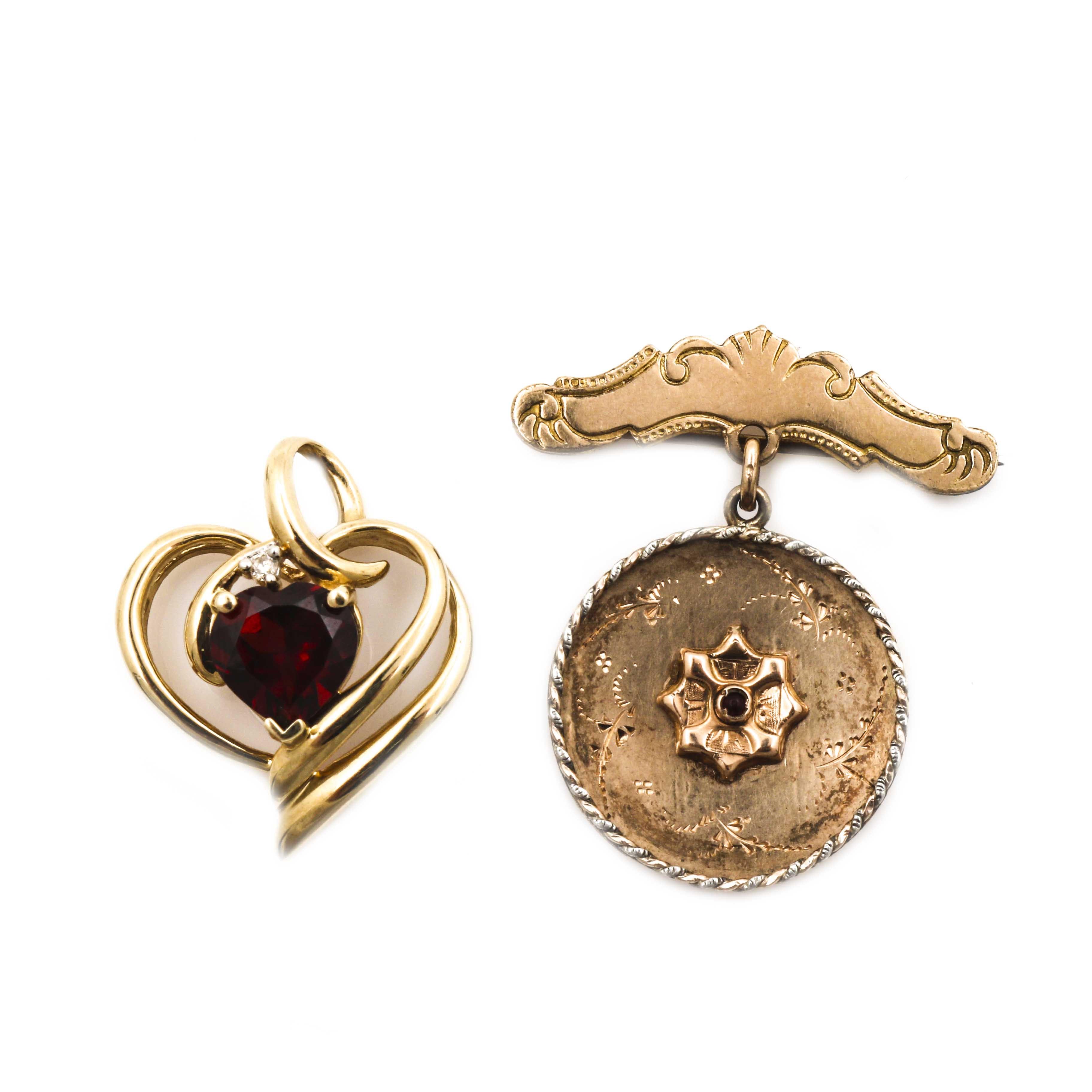 Victorian 14K Yellow Gold Brooch and 10K Yellow Gold Garnet Pendant