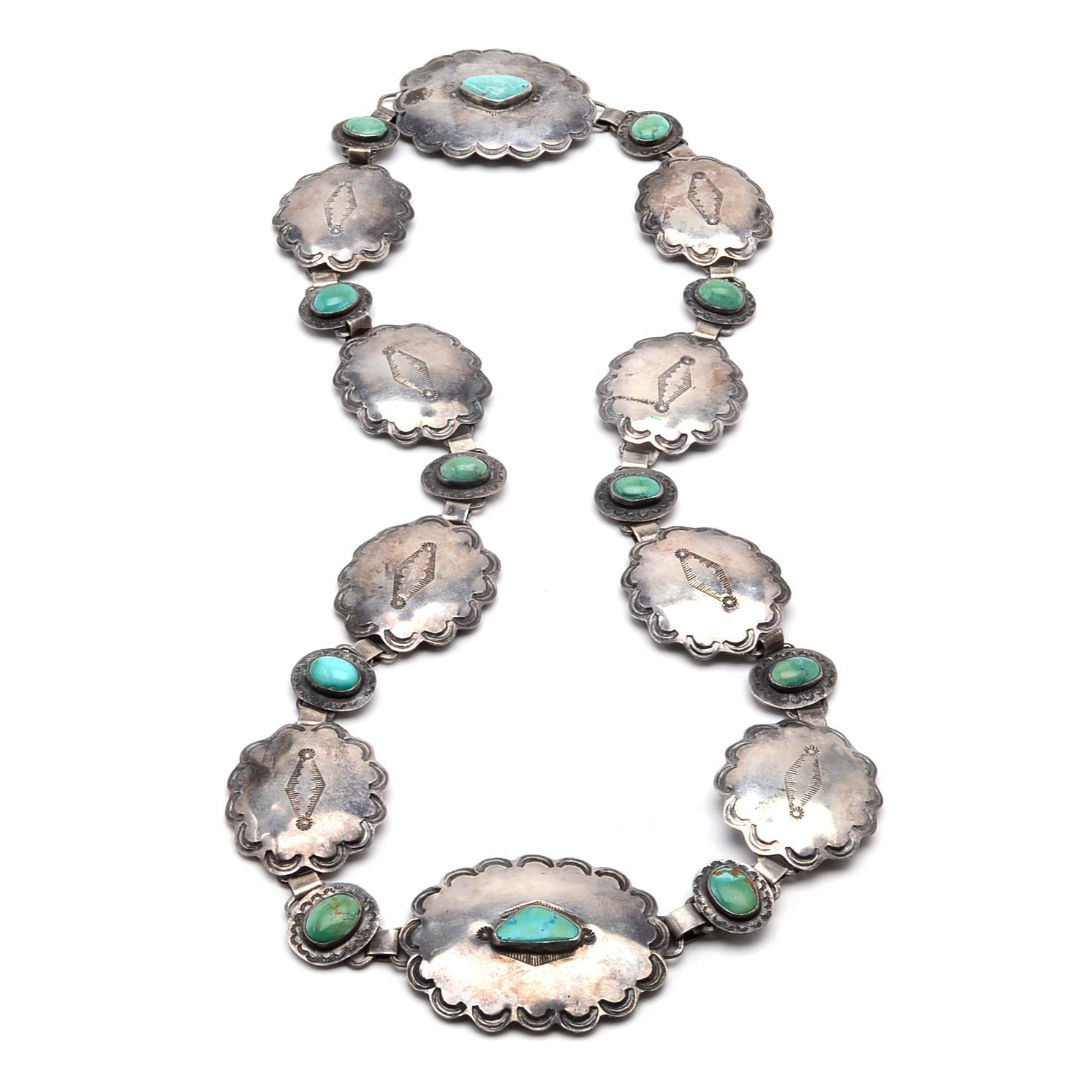 Vintage Native American Style Sterling Silver Concho Belt With Turquoise Stones