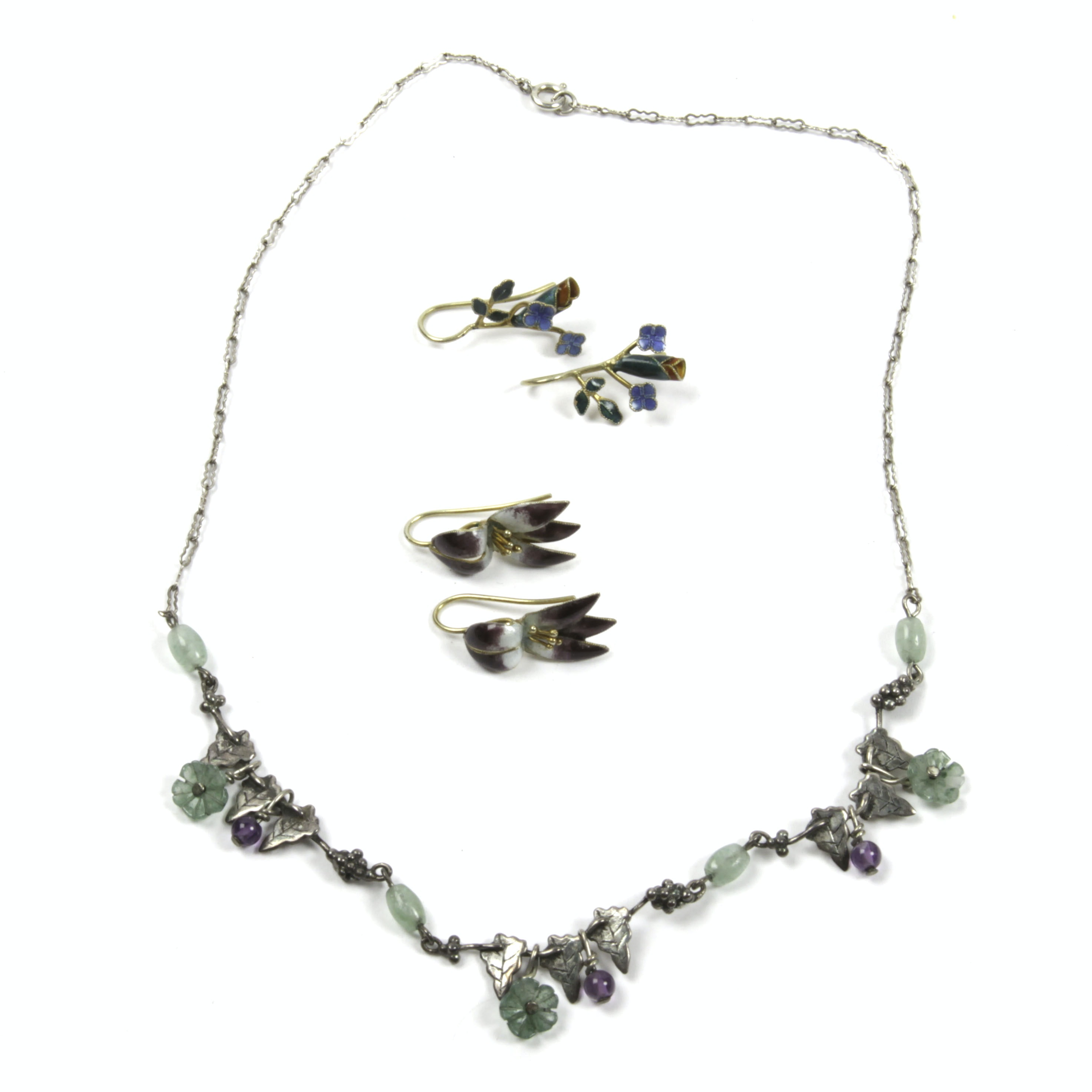 Sterling Silver and Enameled Floral and Bead Jewelry