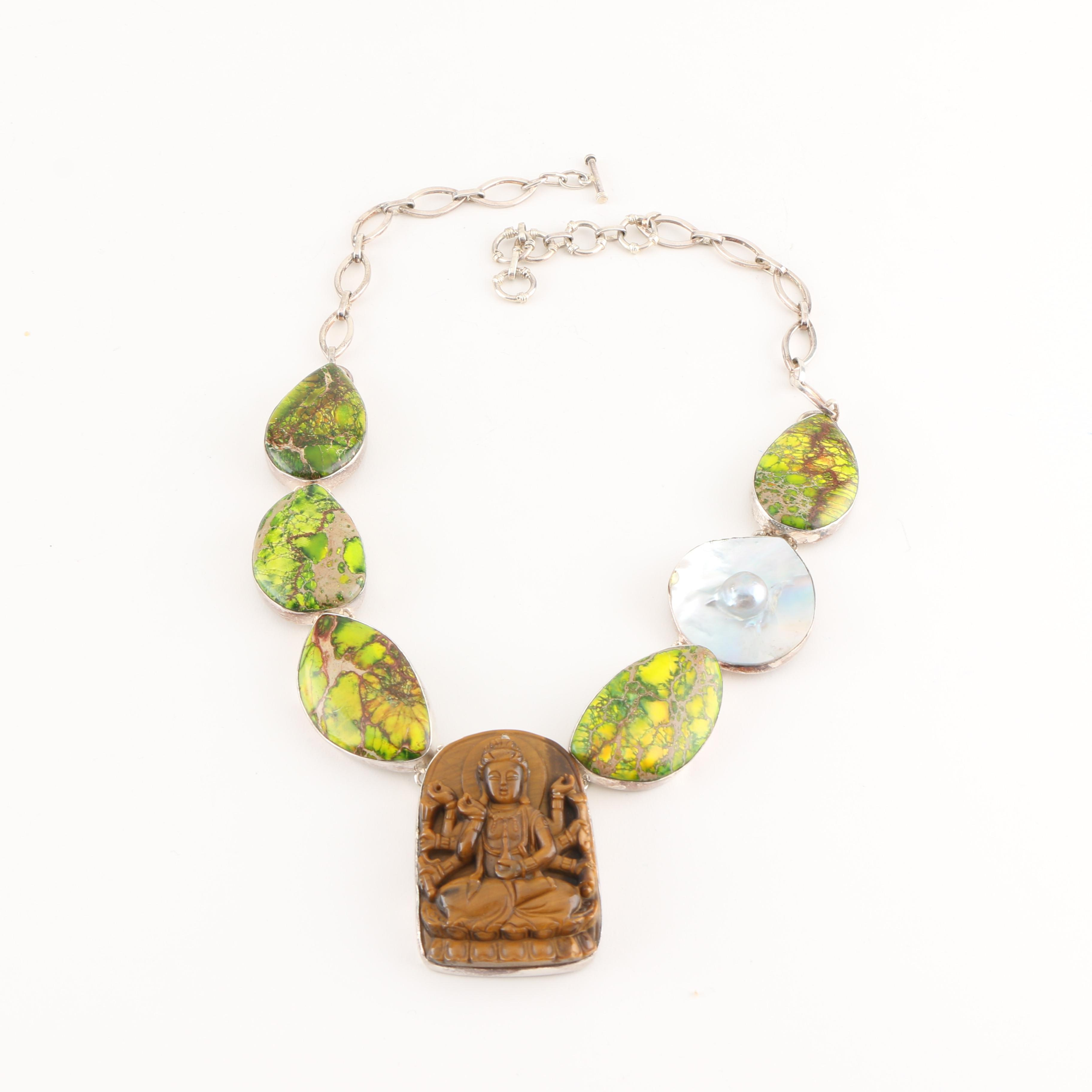 Sterling Silver Statement Necklace Featuring a Carving of Avalokiteśvara