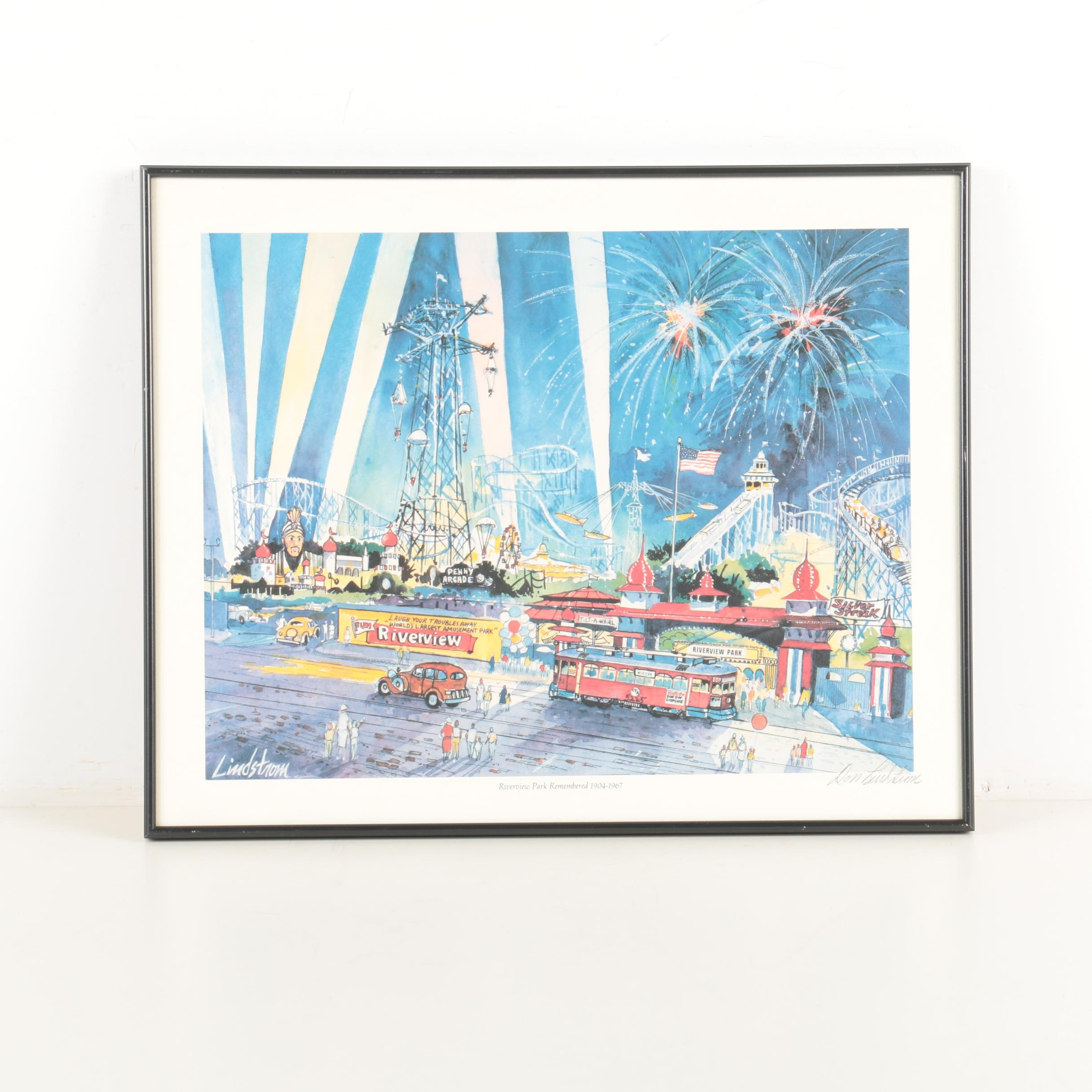 "Offset Lithograph After Don Lindstrom ""Riverview Park Remembered 1904-1967"""