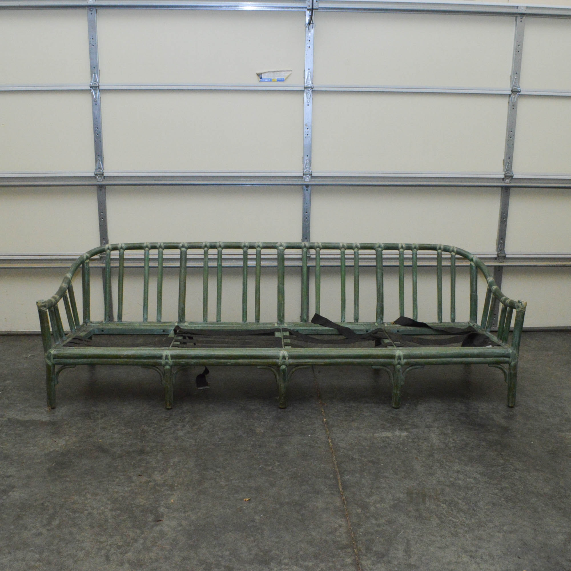 Green Rattan Sofa by McGuire Furniture