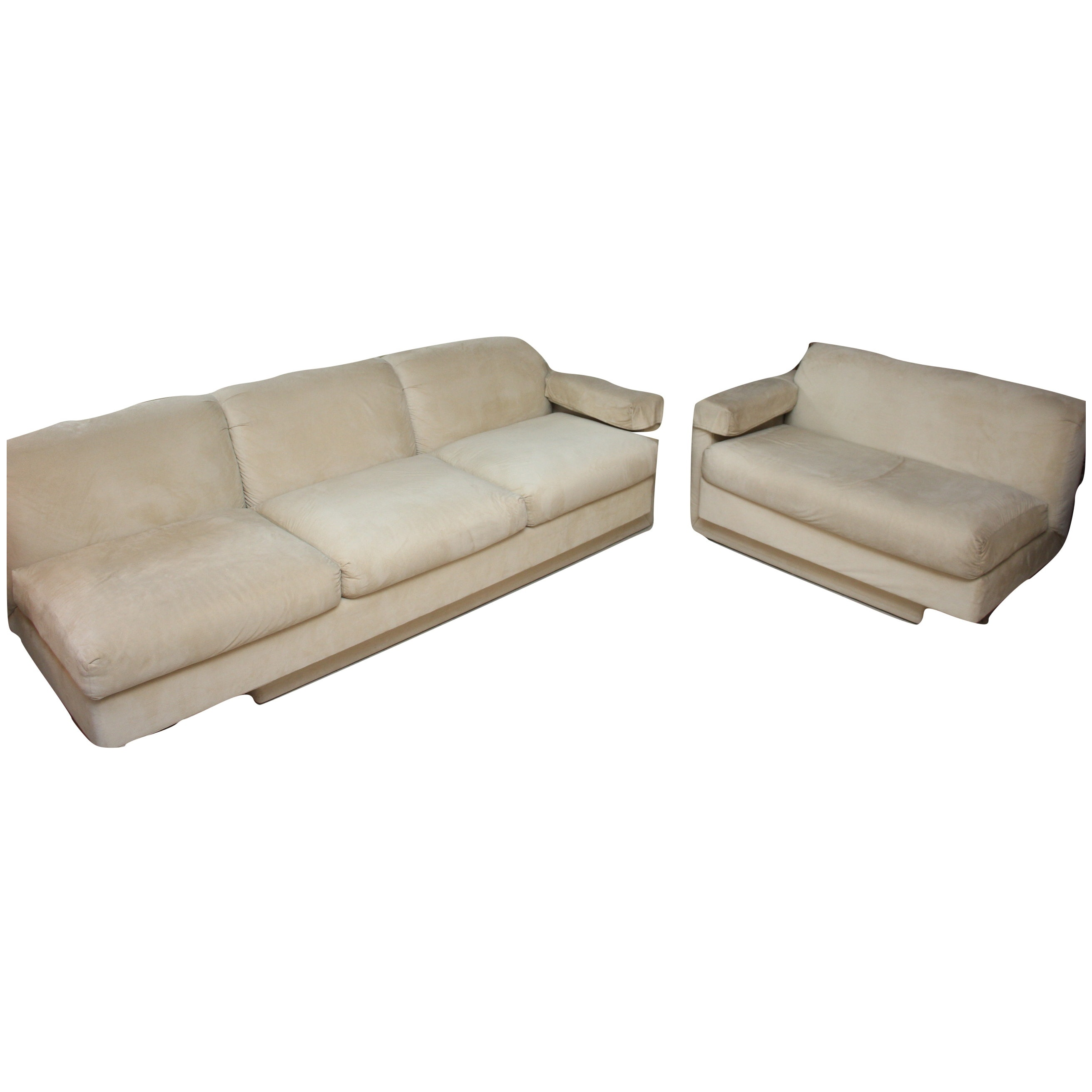 Cantilevered Suede Upholstered Sofa and Loveseat