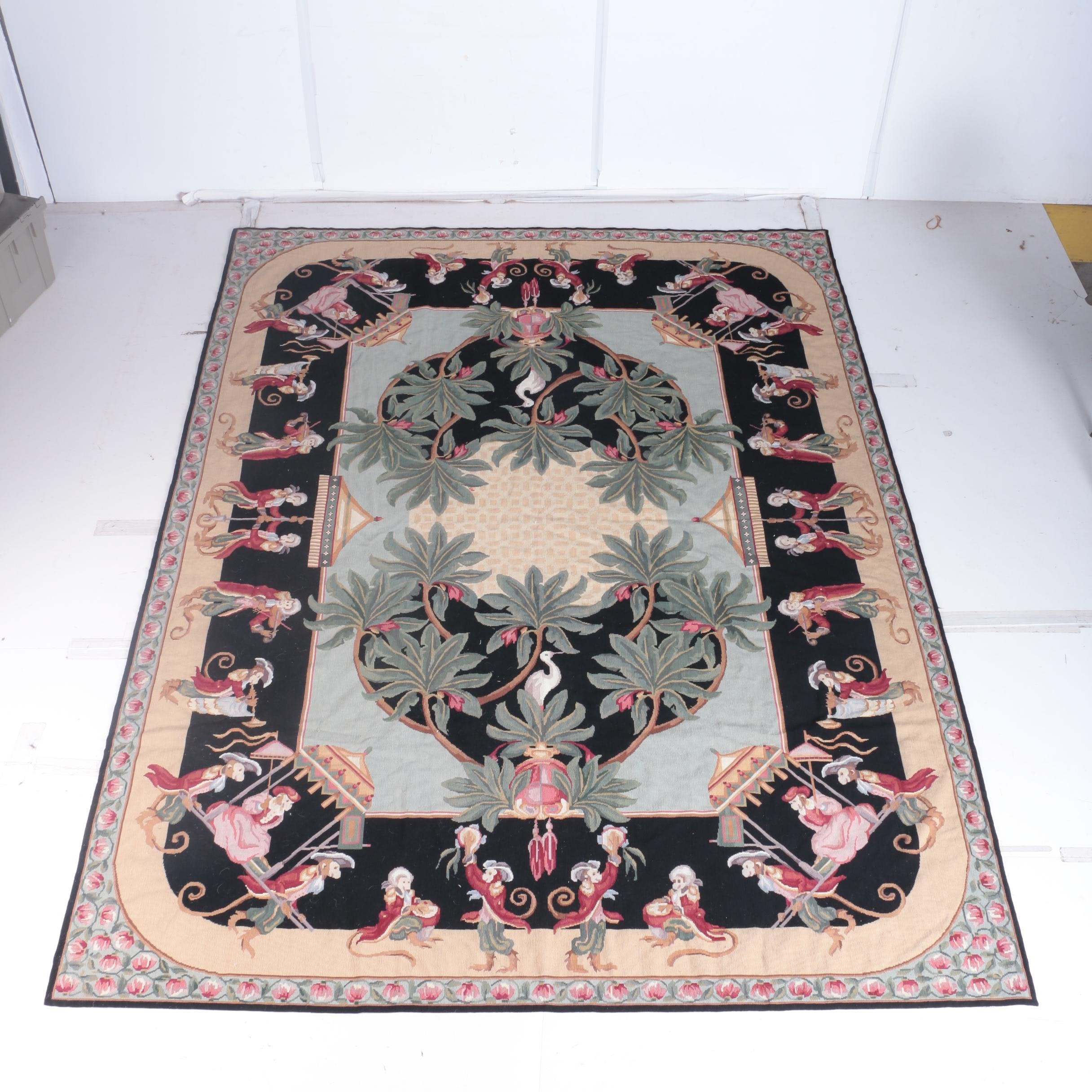 Victoriana Collection Needlepoint Monkey Floral Area Rug